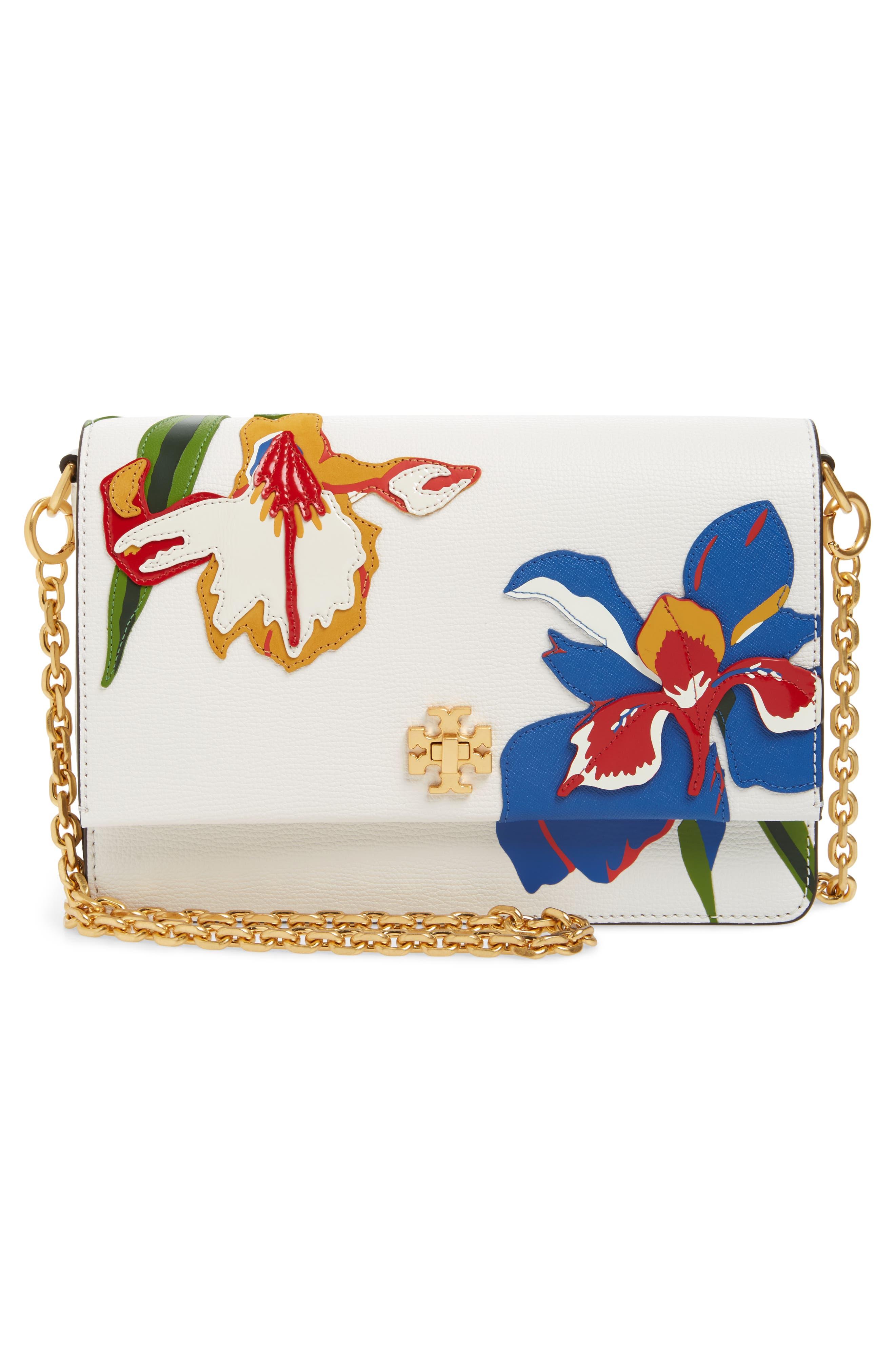 Kira Appliqué Flower Leather Shoulder Bag,                             Alternate thumbnail 3, color,                             Painted Iris