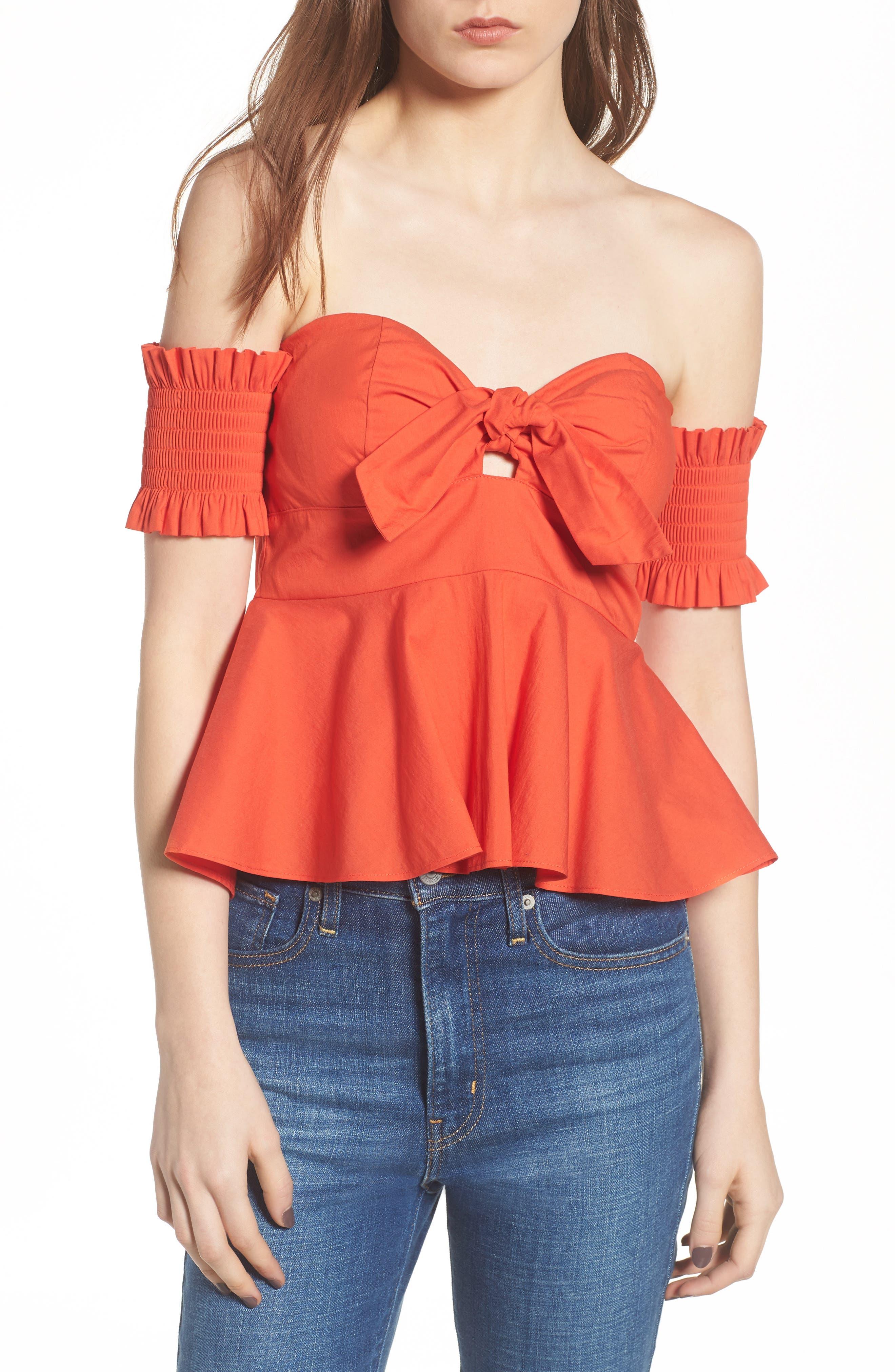 Smocked Off the Shoulder Top,                         Main,                         color, Burnt Orange