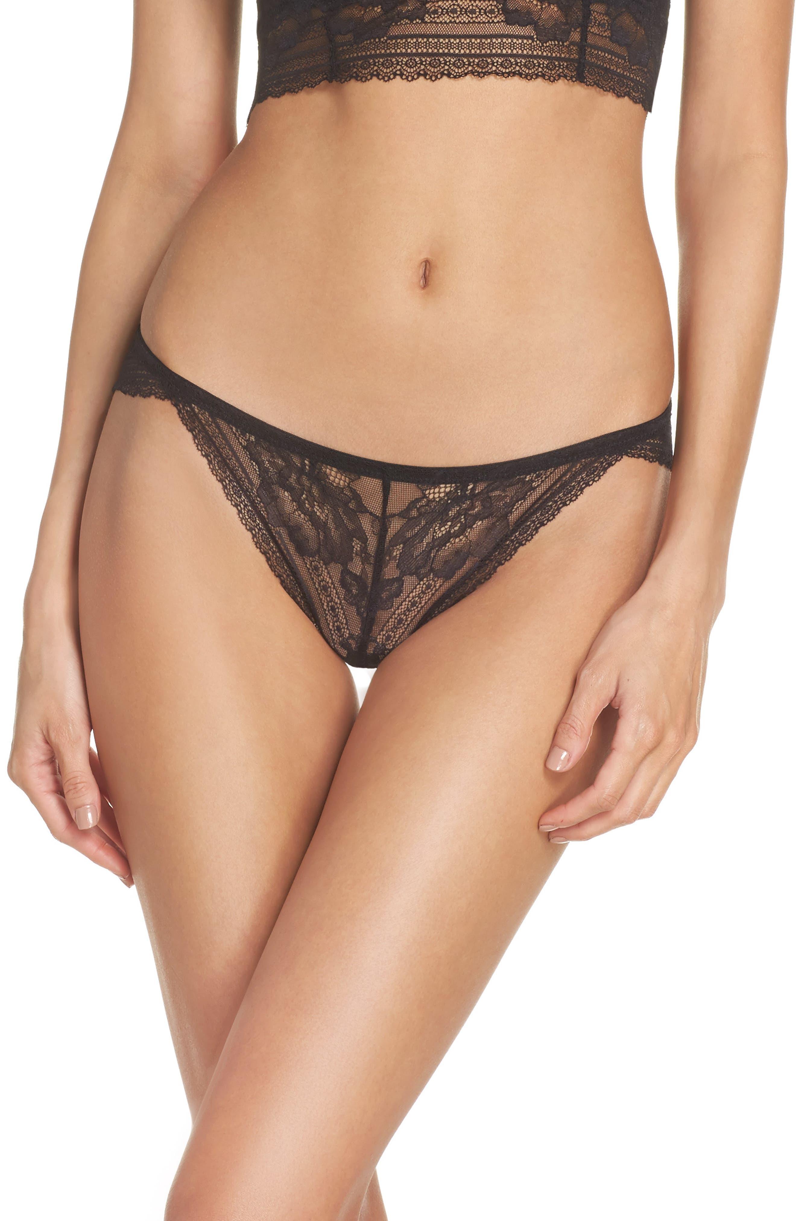 Intimately FP Sorento Lace Bikini,                         Main,                         color, Black
