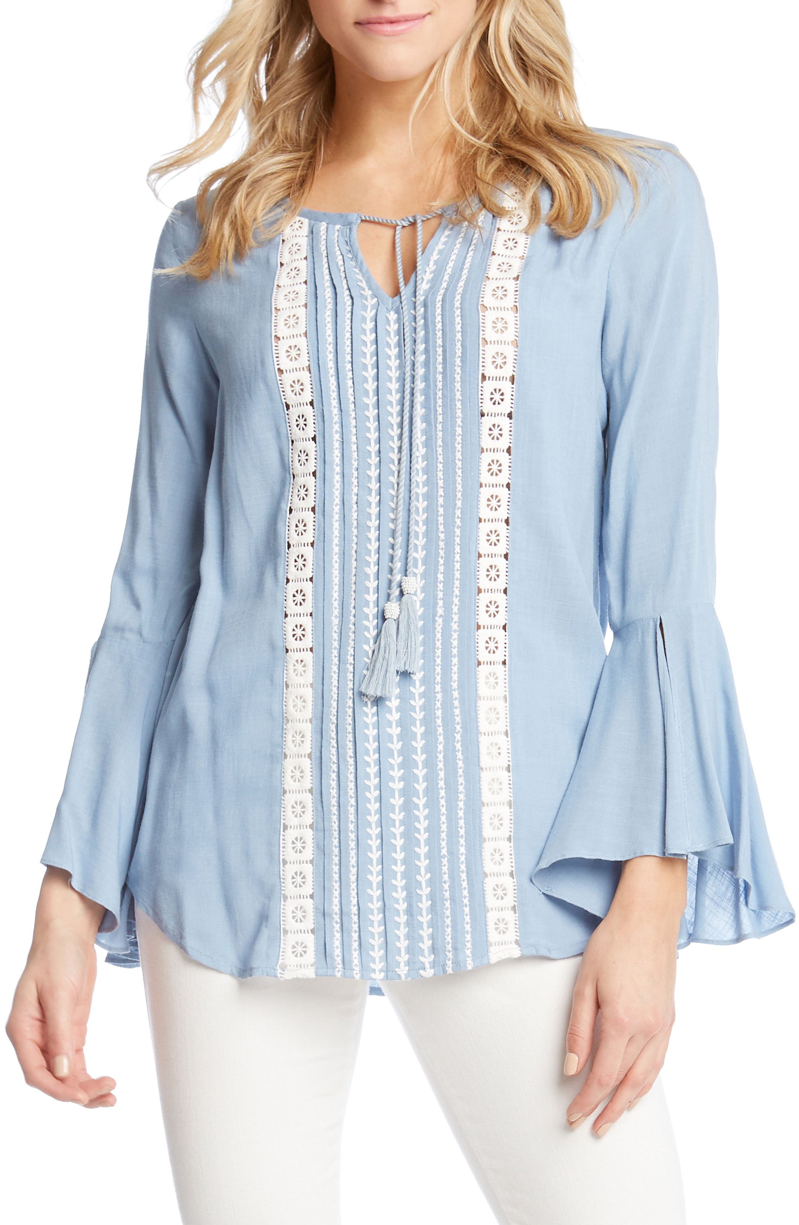 Embroidered Split Sleeve Top,                             Main thumbnail 1, color,                             Power Blue