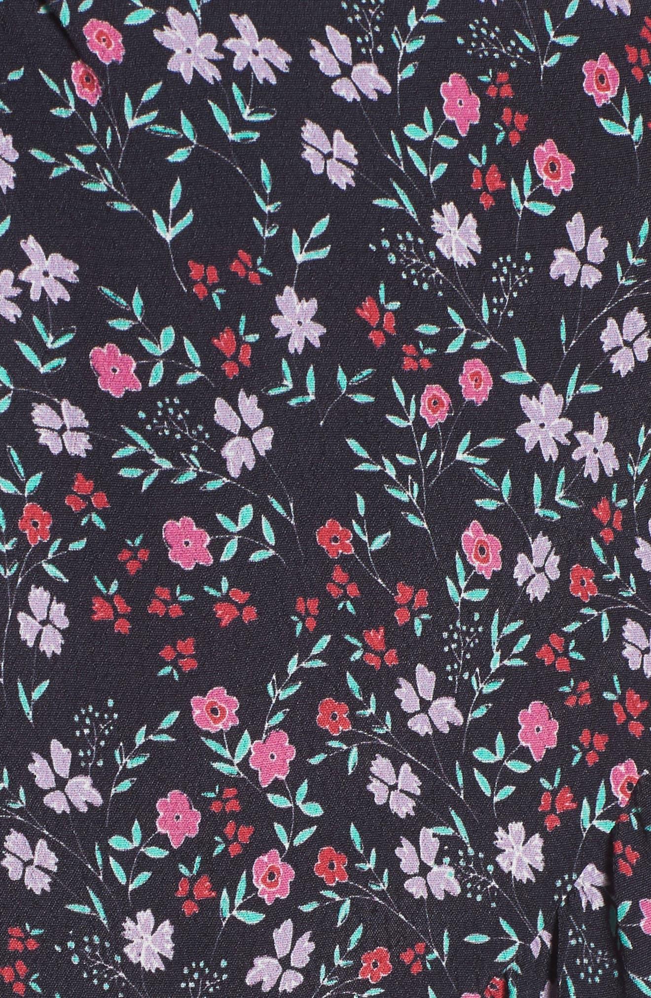 Skye Wrap Minidress,                             Alternate thumbnail 5, color,                             Ditsy Floral