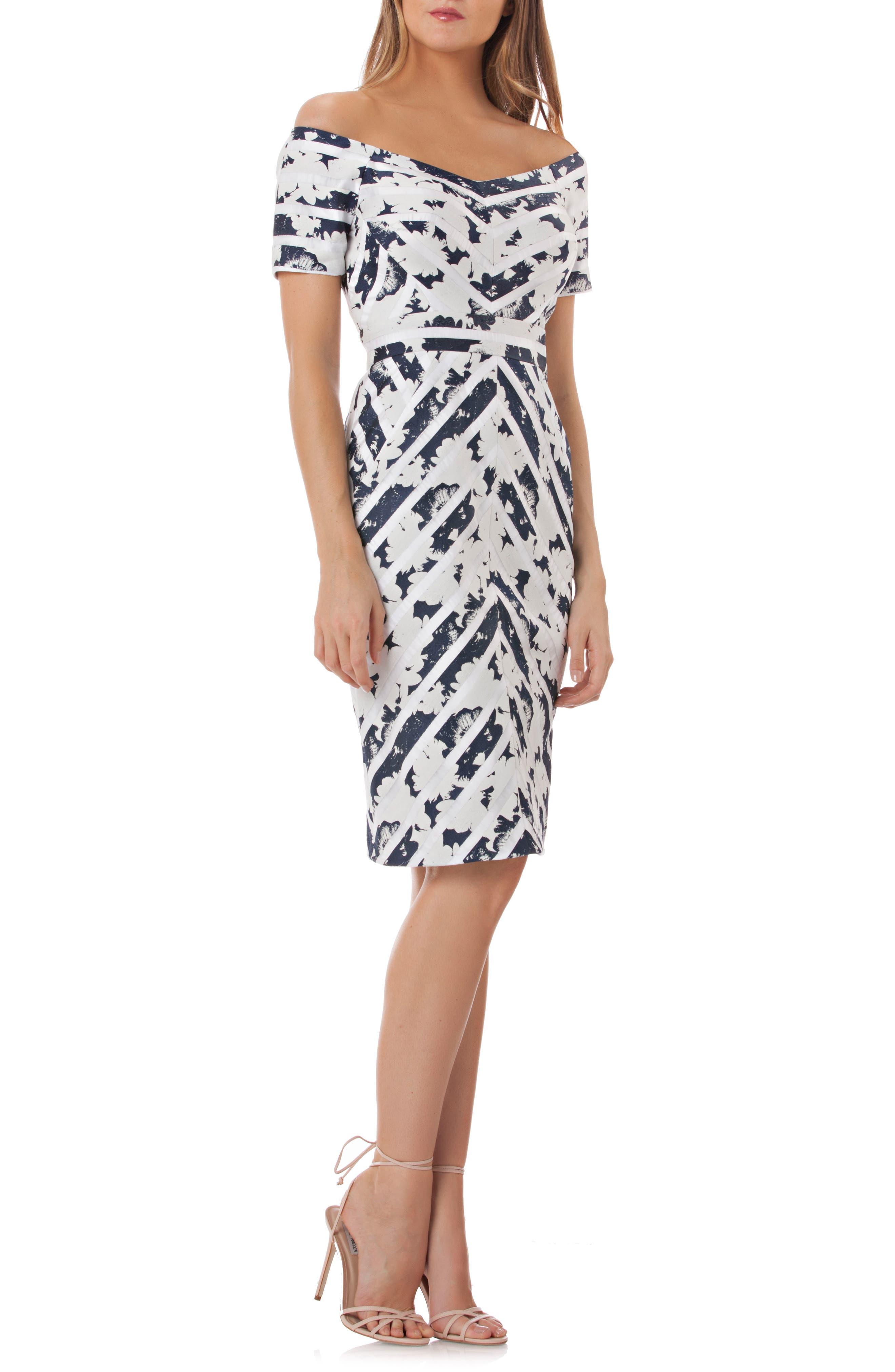 Off the Shoulder Jacquard Sheath Dress,                         Main,                         color, Navy/ White