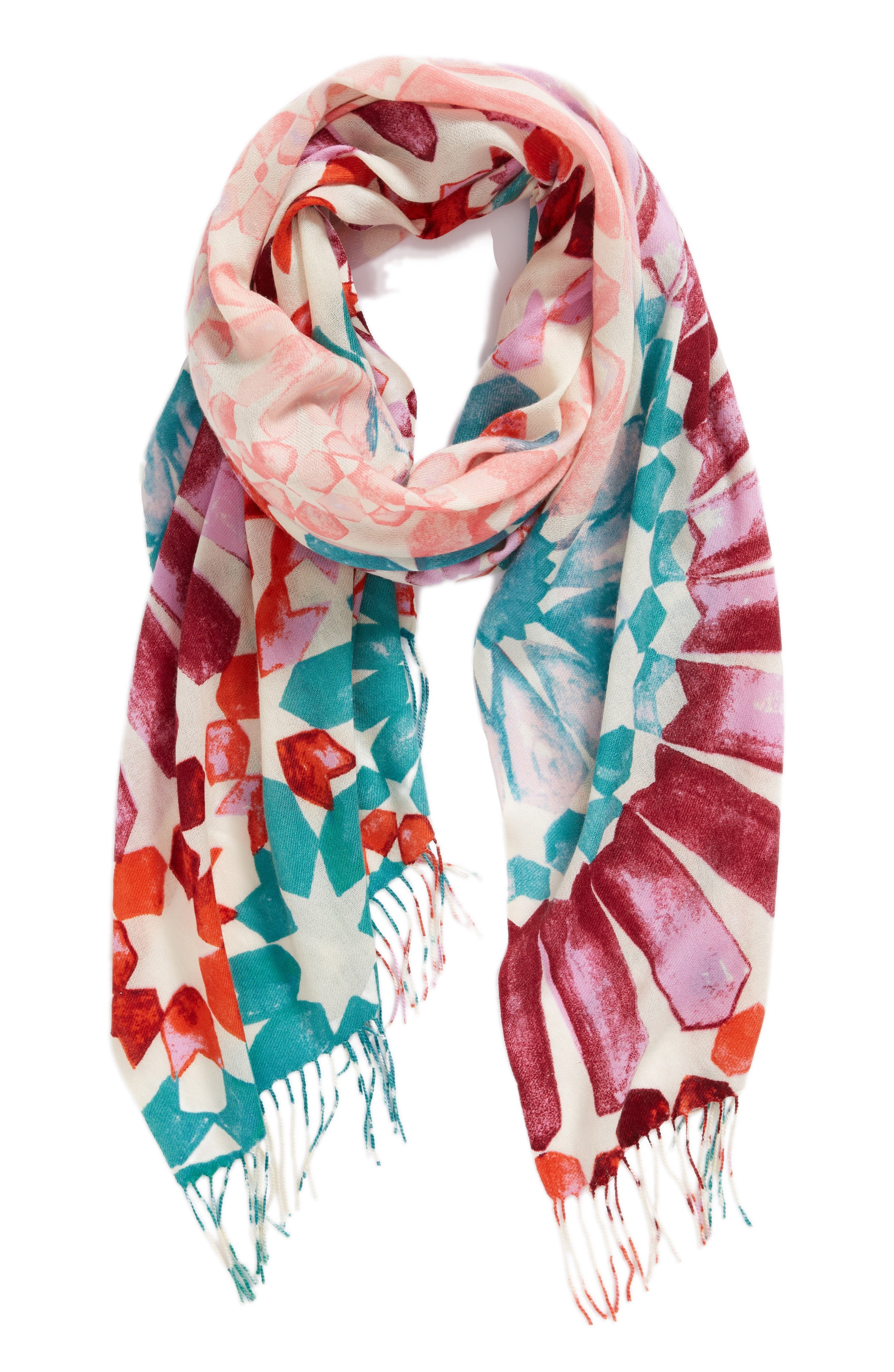 Tissue Print Wool & Cashmere Wrap Scarf,                             Alternate thumbnail 2, color,                             Pink Magical Mosaic