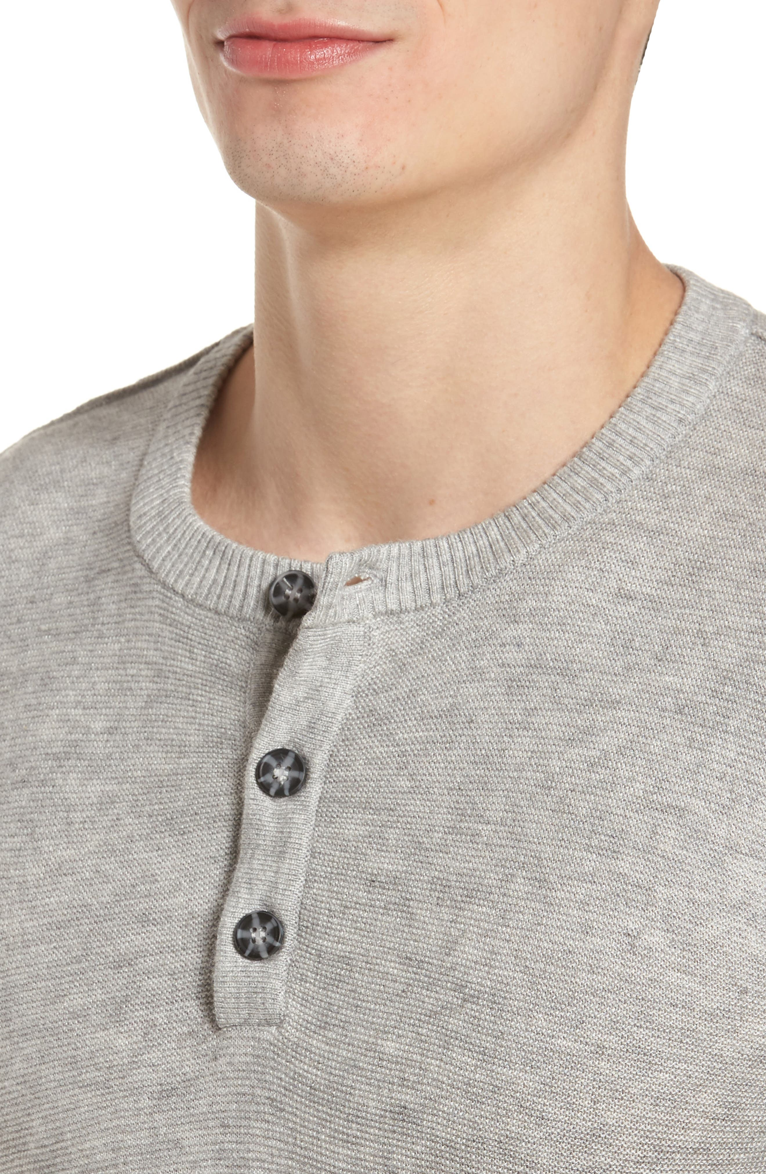 Tailored Fit Henley,                             Alternate thumbnail 4, color,                             Light Grey
