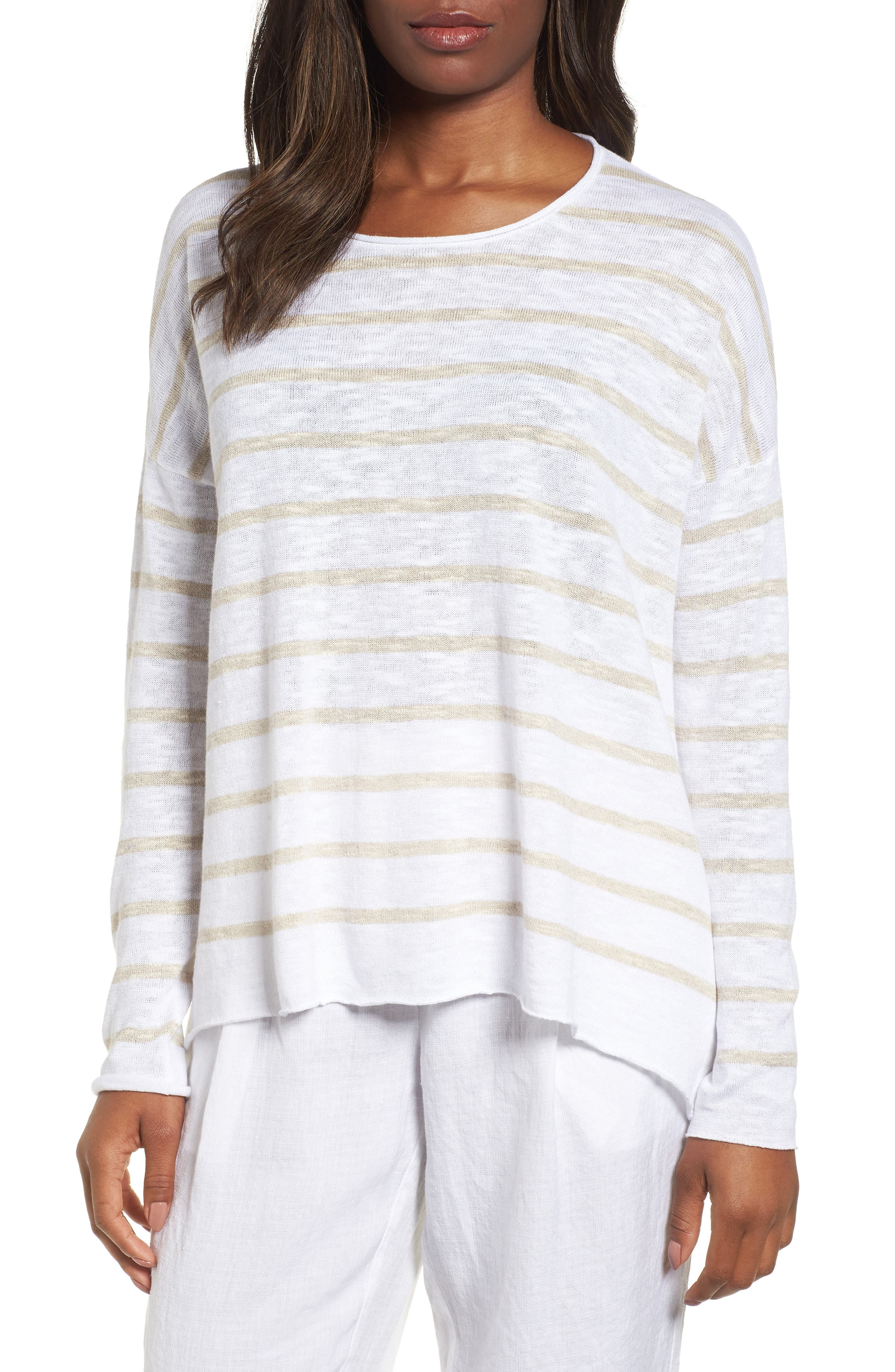 Stripe Organic Linen & Cotton Sweater,                             Main thumbnail 1, color,                             White/ Natural