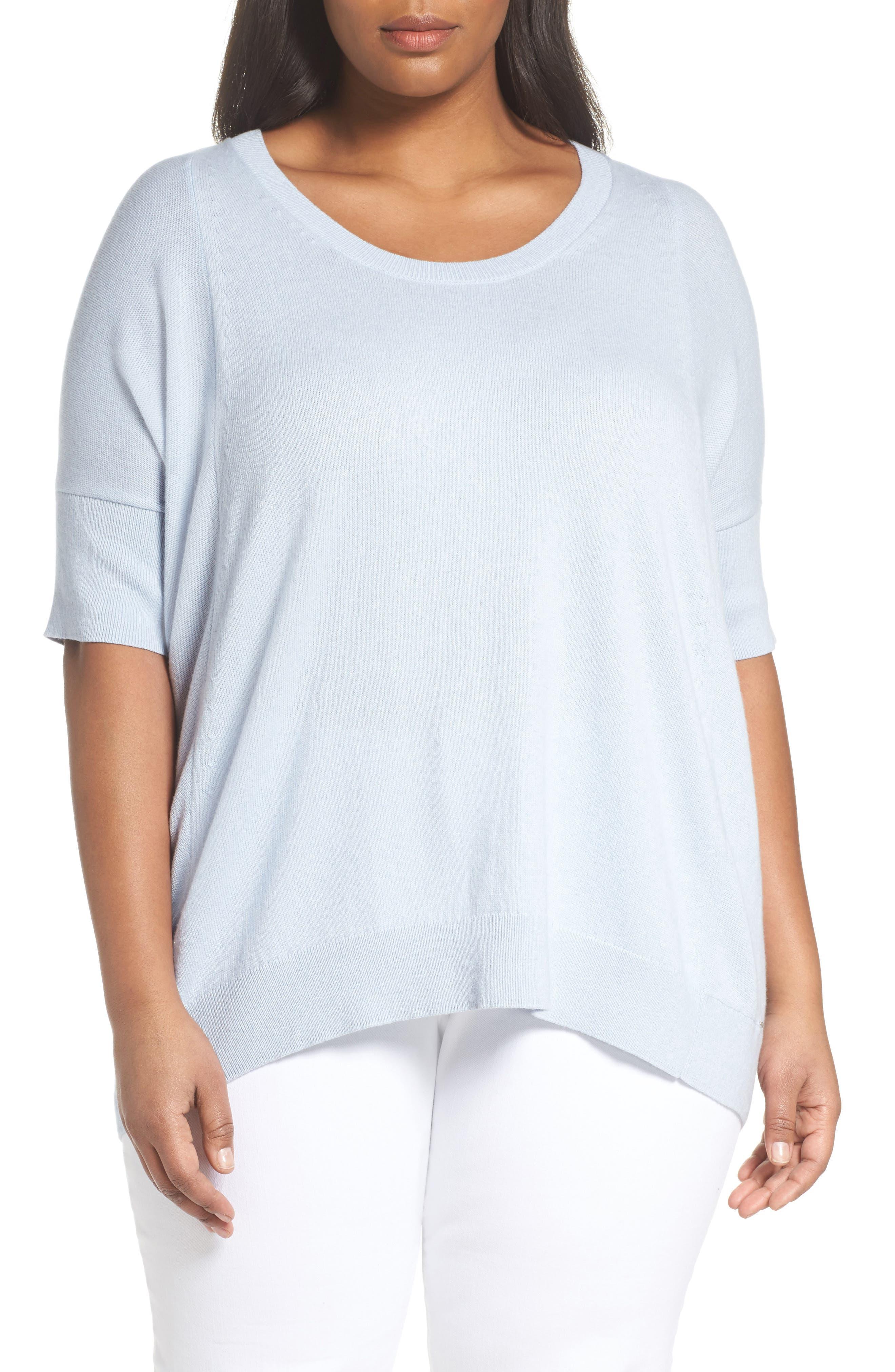 Cotton, Cashmere & Silk Oversized Scoop Neck Sweater,                         Main,                         color, Pale Blue Melange