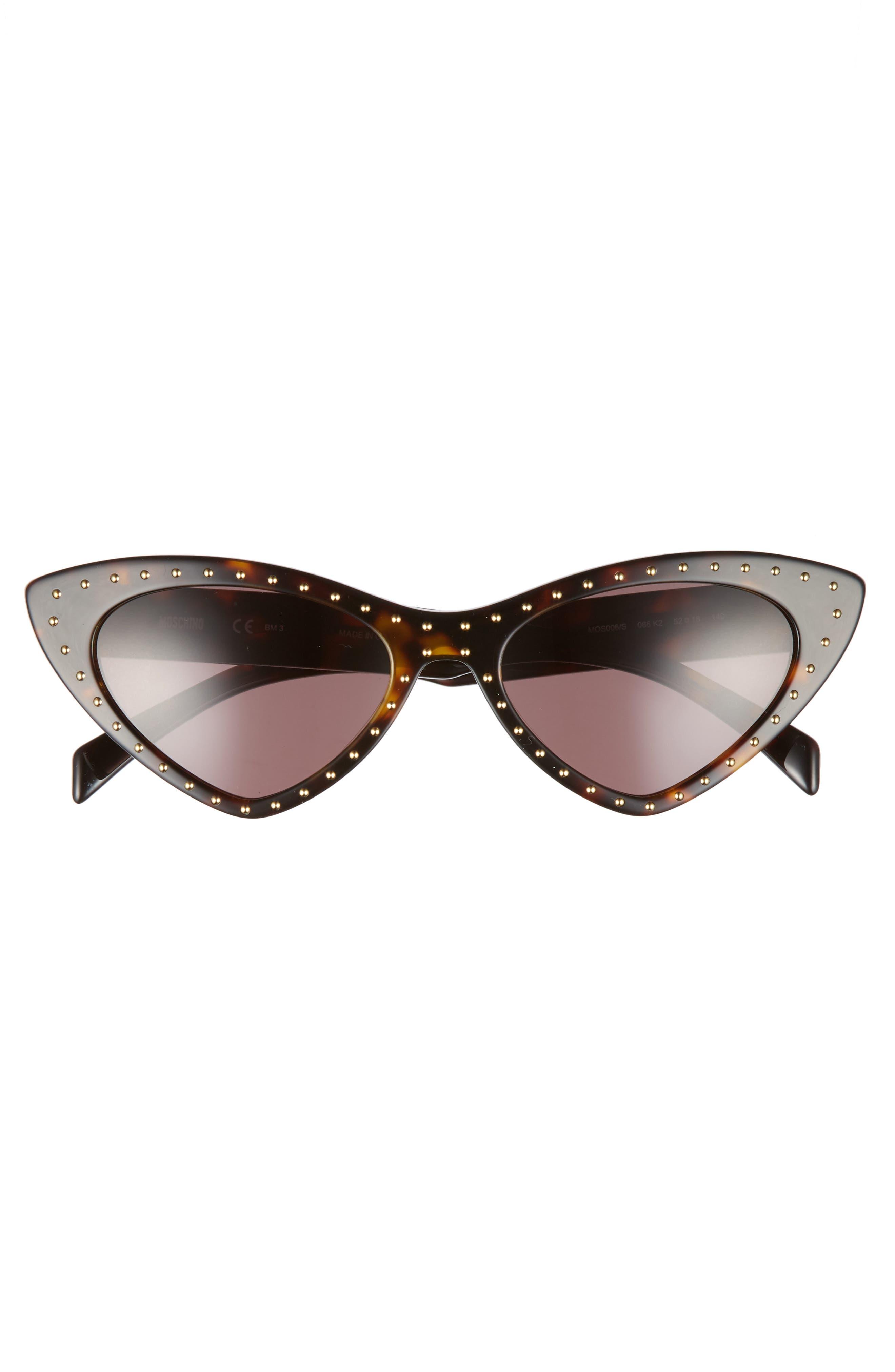 52mm Cat's Eye Sunglasses,                             Alternate thumbnail 3, color,                             Dark Havana
