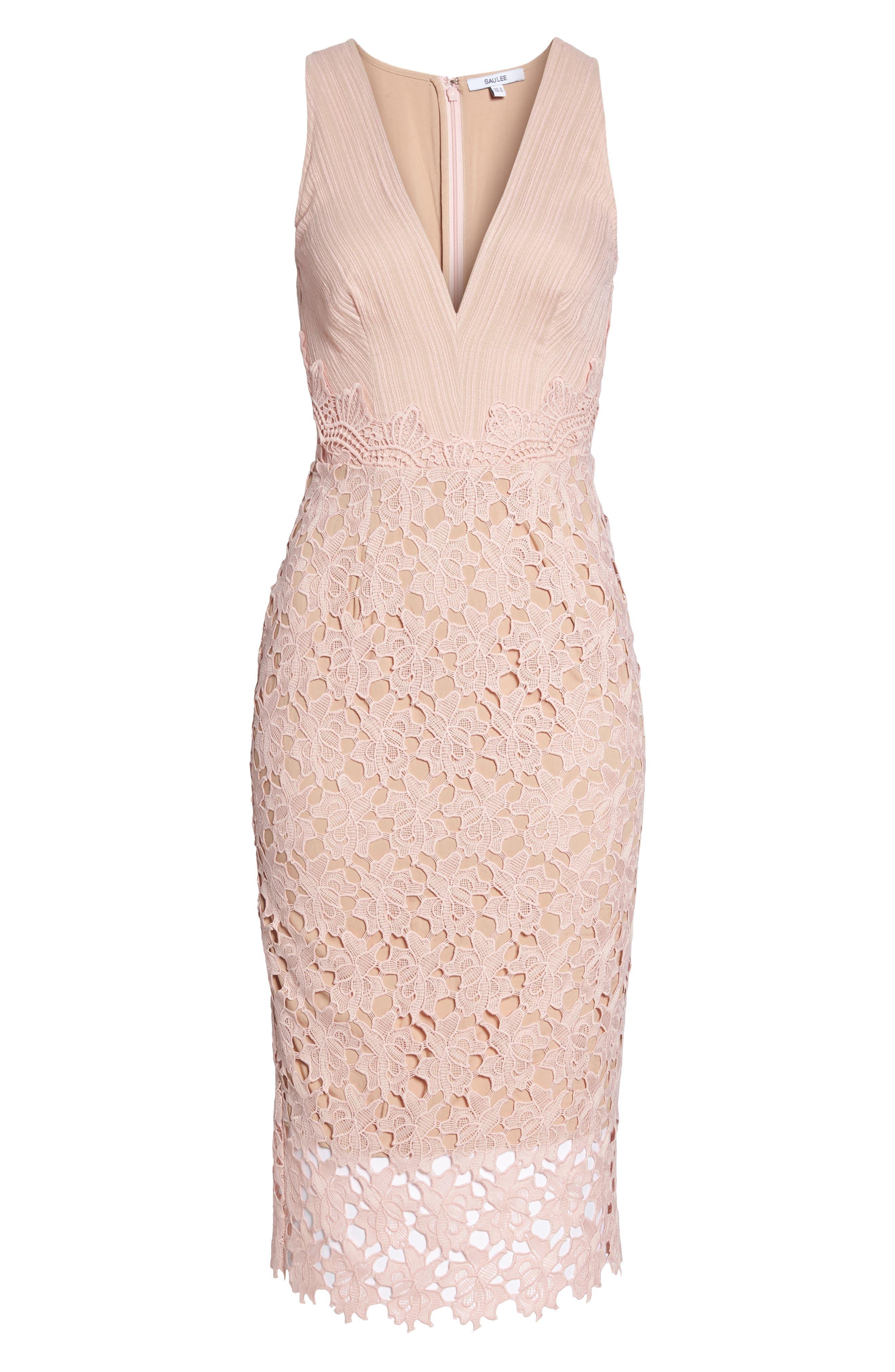 Jessie Lace Pencil Dress,                             Alternate thumbnail 6, color,                             Pink
