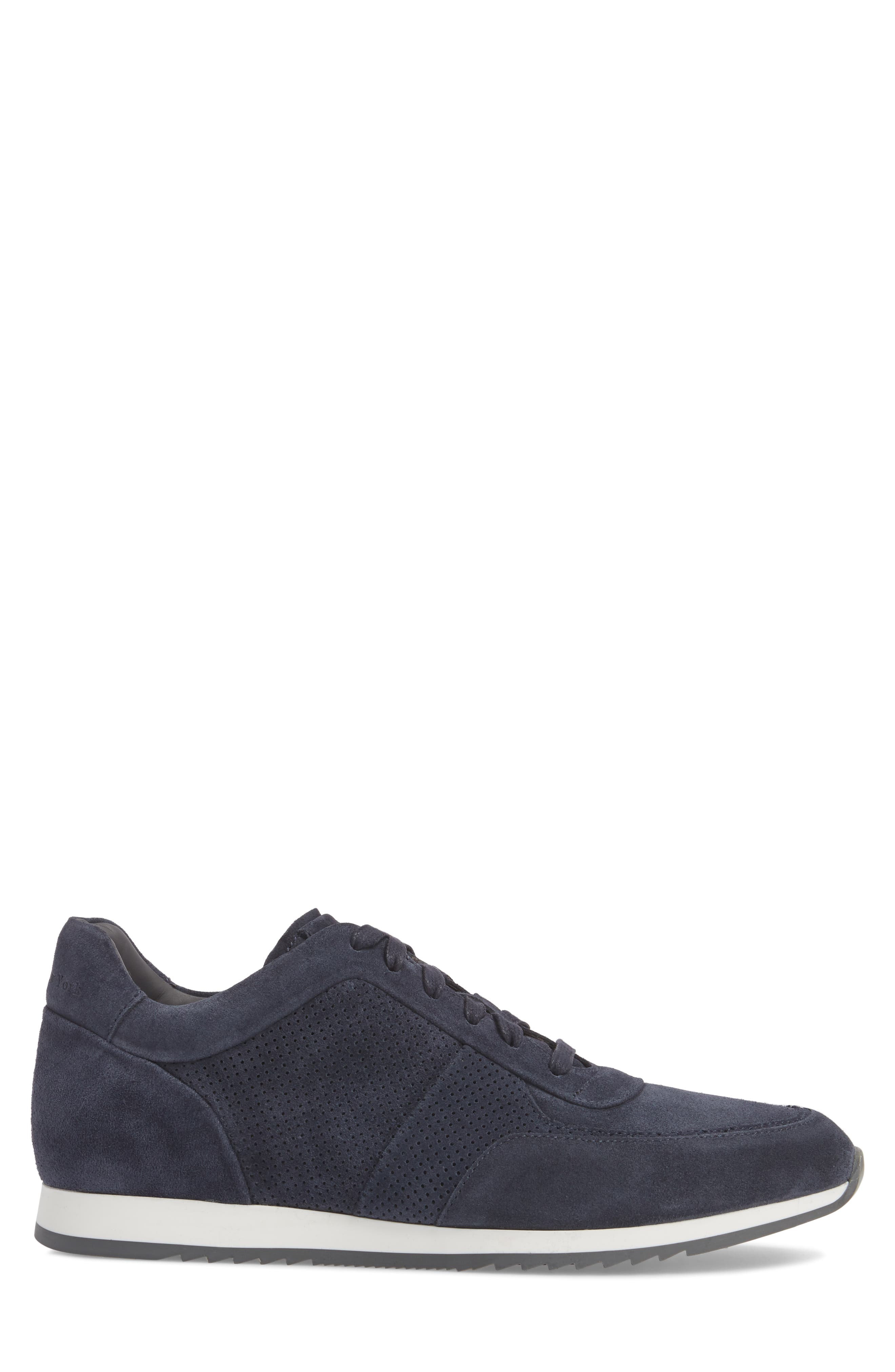 Fordham Low Top Sneaker,                             Alternate thumbnail 3, color,                             Space Blue Suede