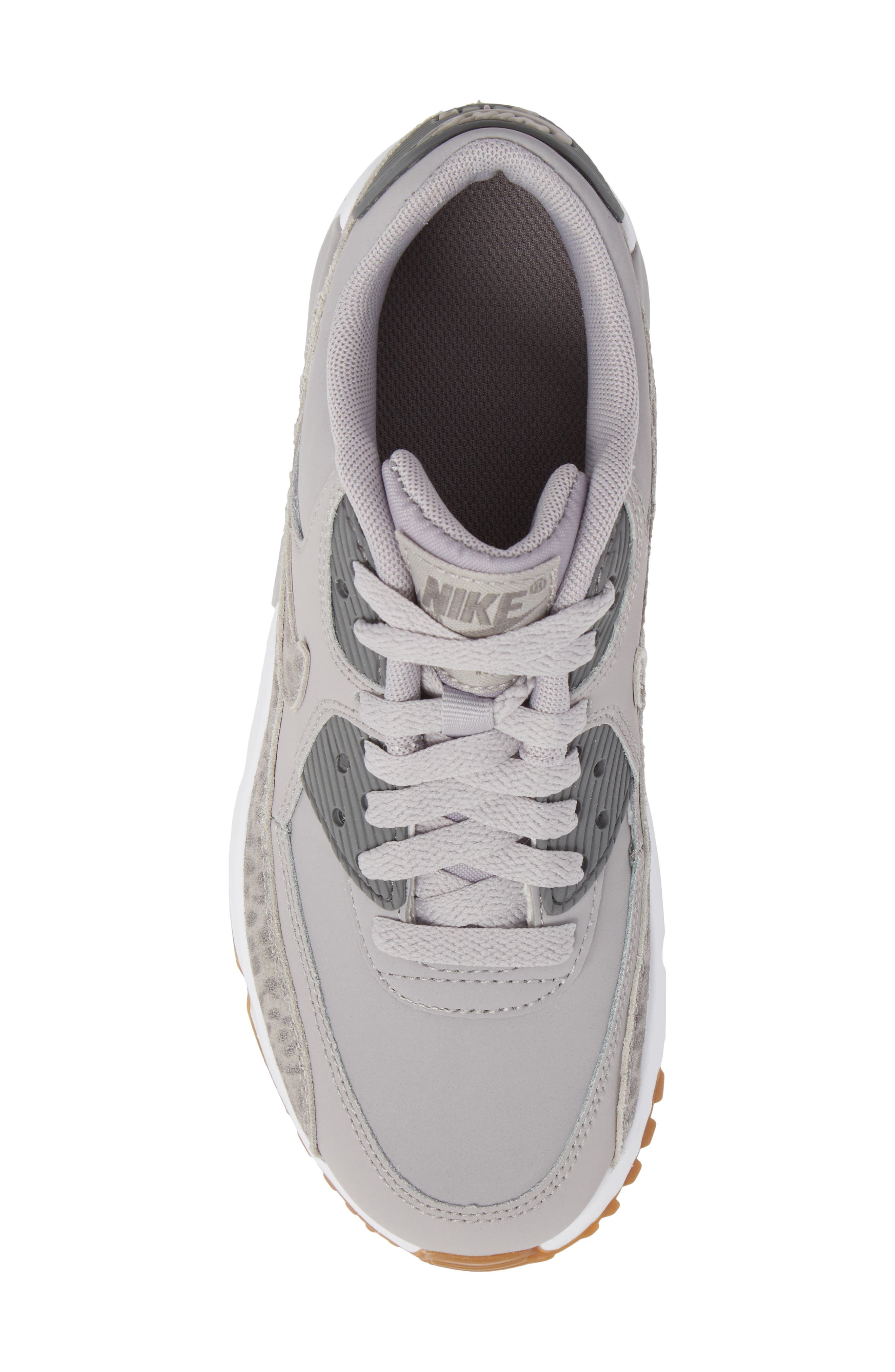 Air Max 90 Leather Sneaker,                             Alternate thumbnail 5, color,                             Atmosphere Grey/ Smoke/ White
