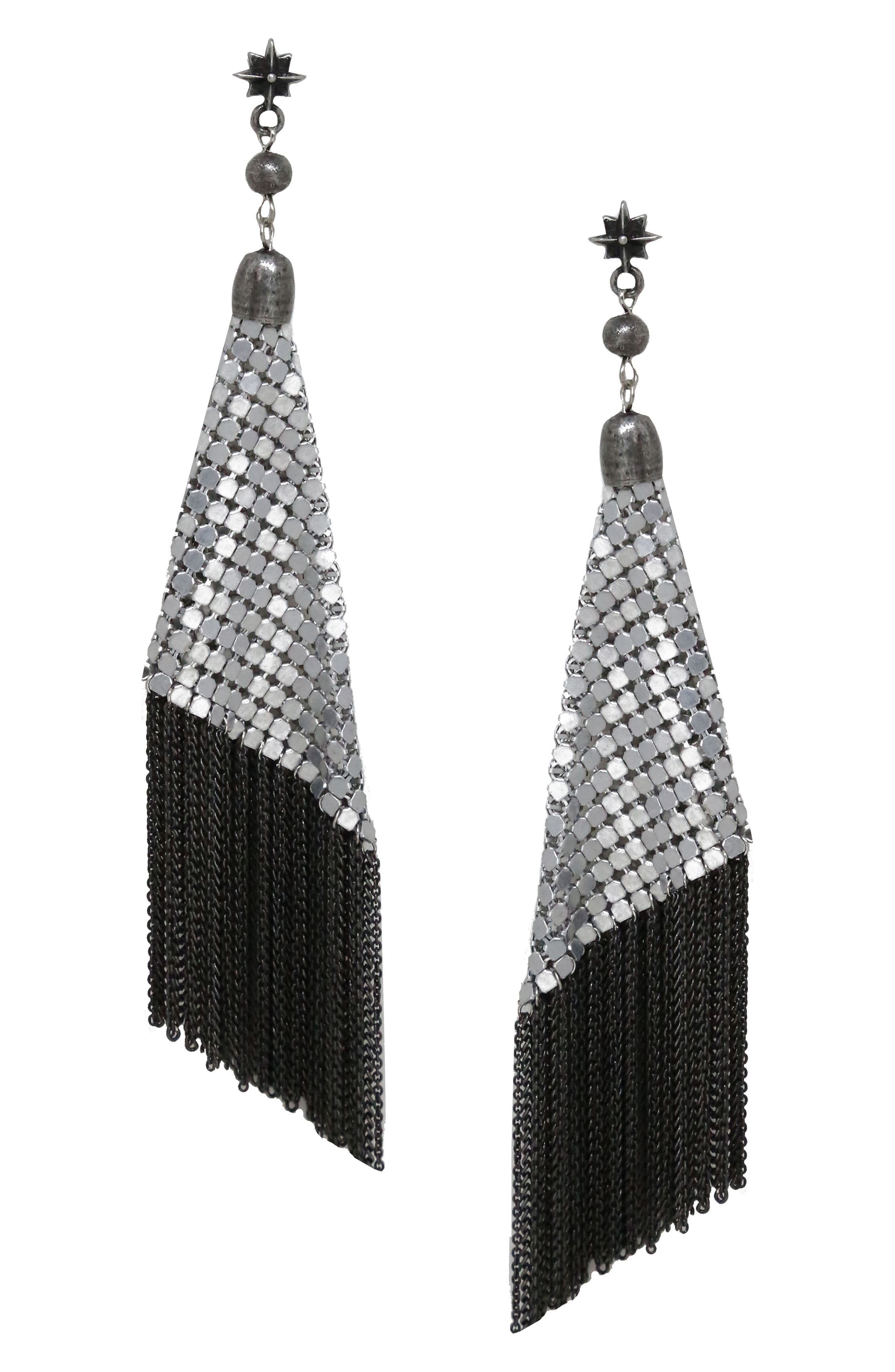 Star Charm Mesh Drop Earrings,                         Main,                         color, Silver
