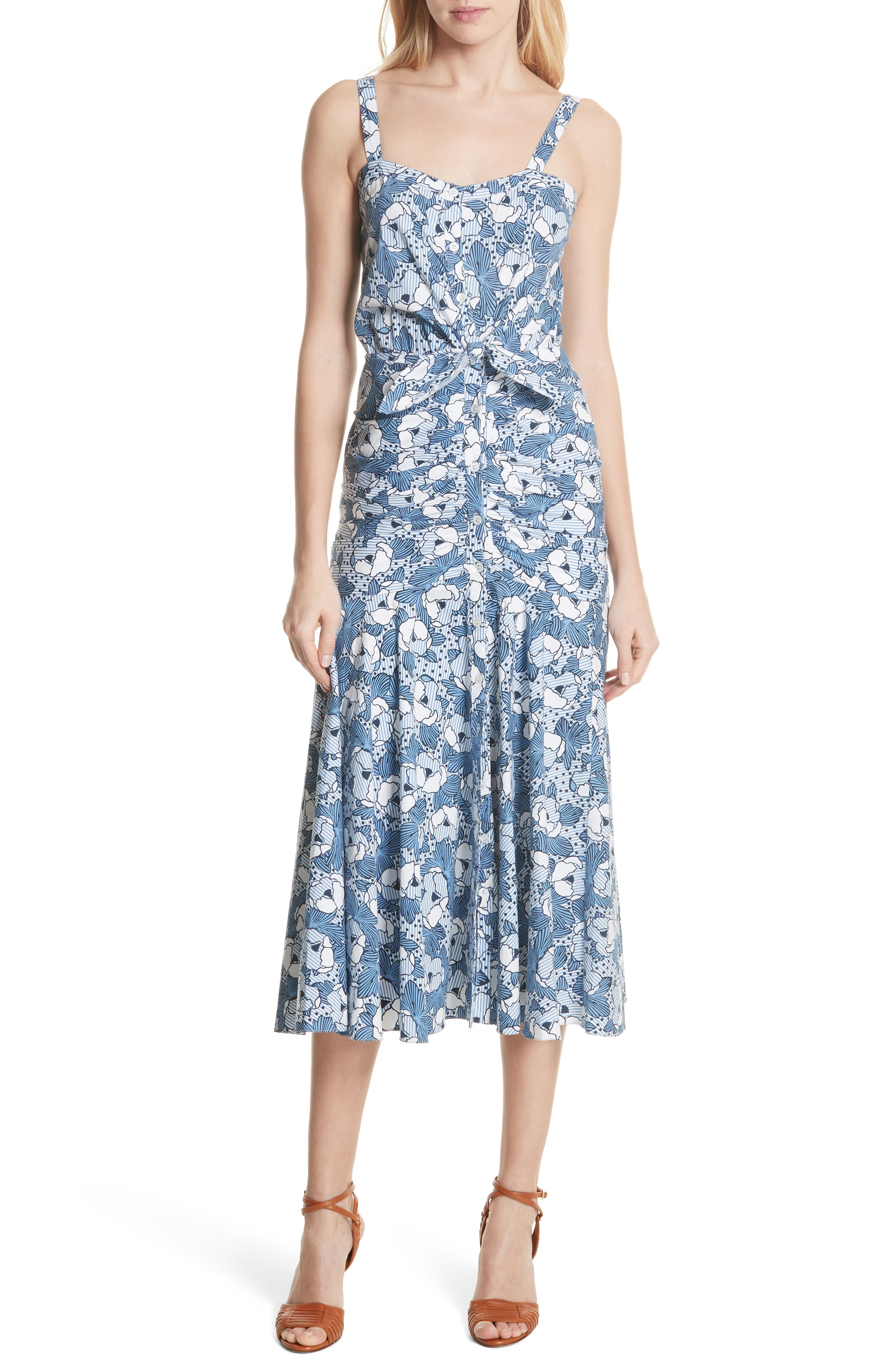 Marena Ruched Waist Floral Midi Dress,                             Main thumbnail 1, color,                             Blue/ White