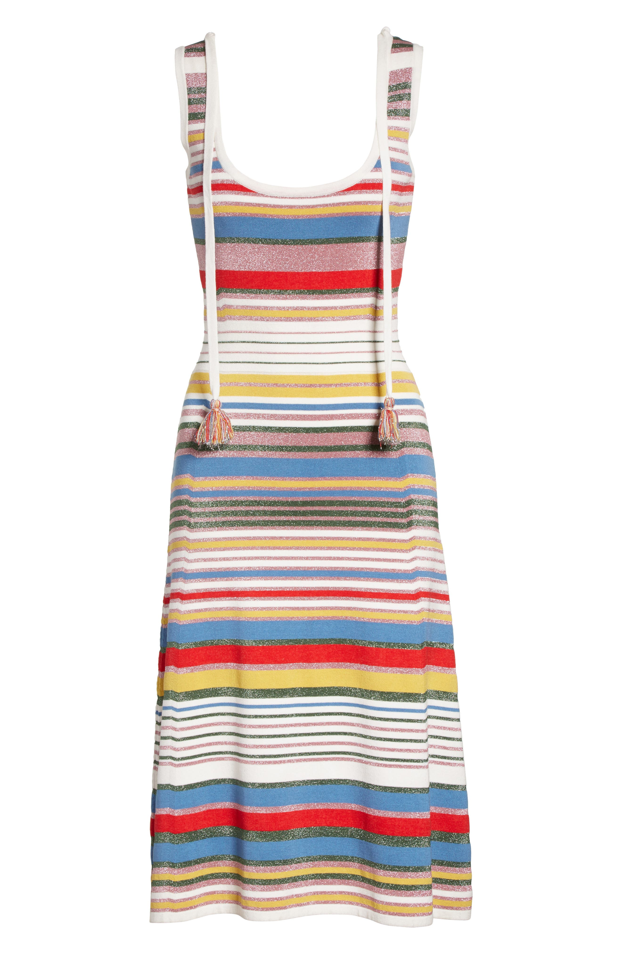 Dulce Glitter Stripe Dress,                             Alternate thumbnail 6, color,                             Multi