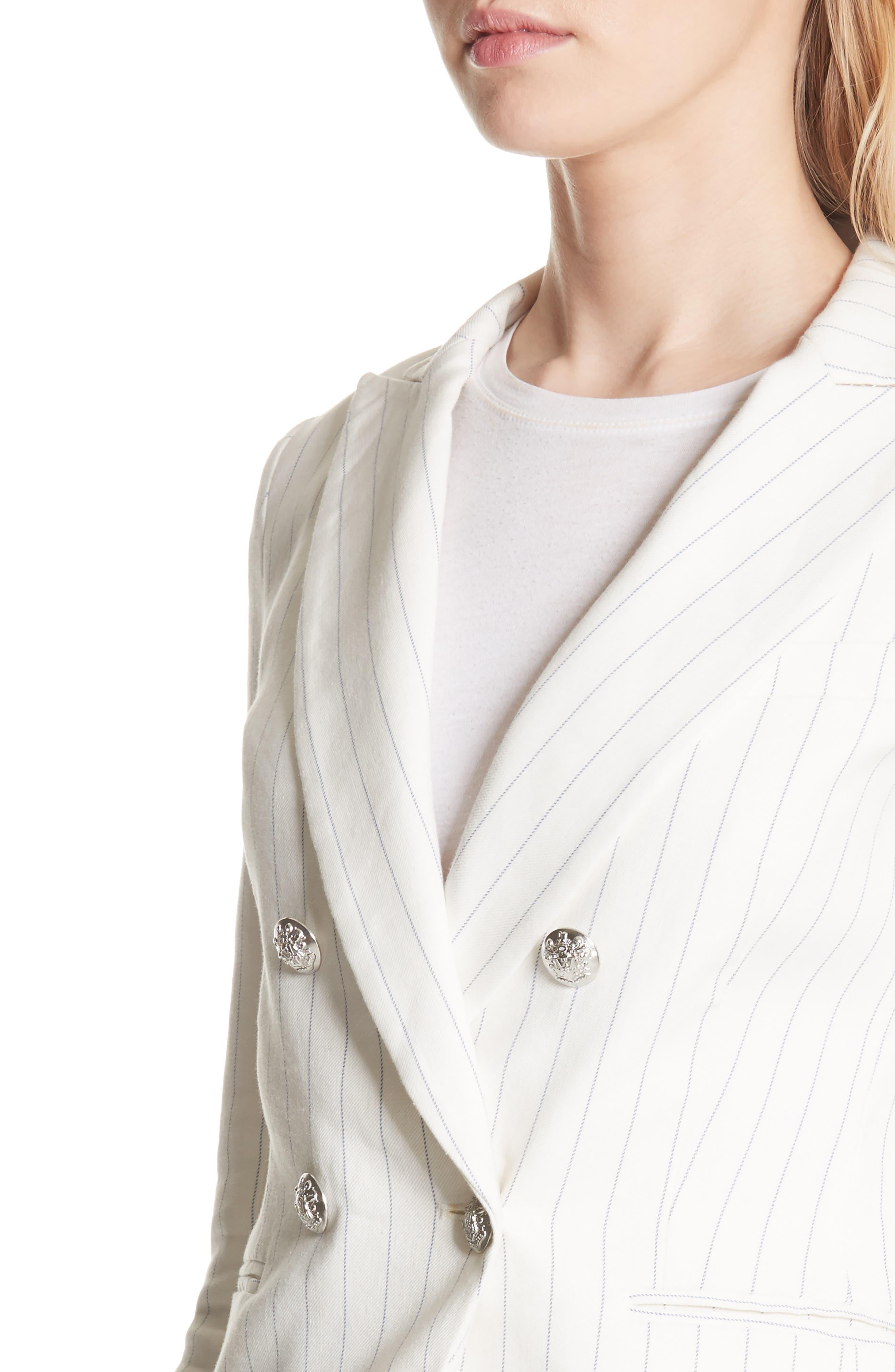 Apollo Pinstripe Jacket,                             Alternate thumbnail 4, color,                             Off White/ Blue Stripe