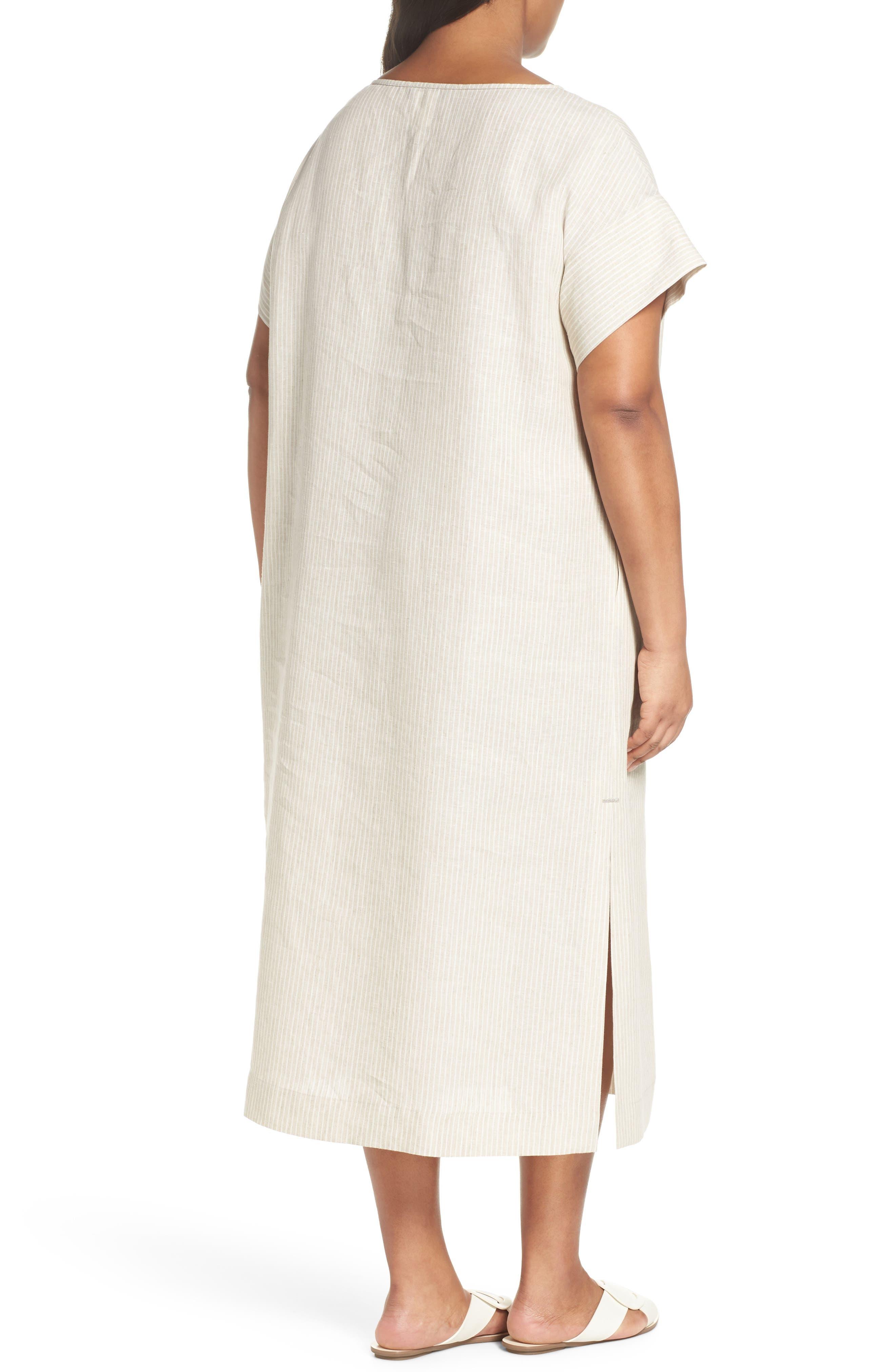 Emiline Stripe Linen Dress,                             Alternate thumbnail 2, color,                             Tahini Multi