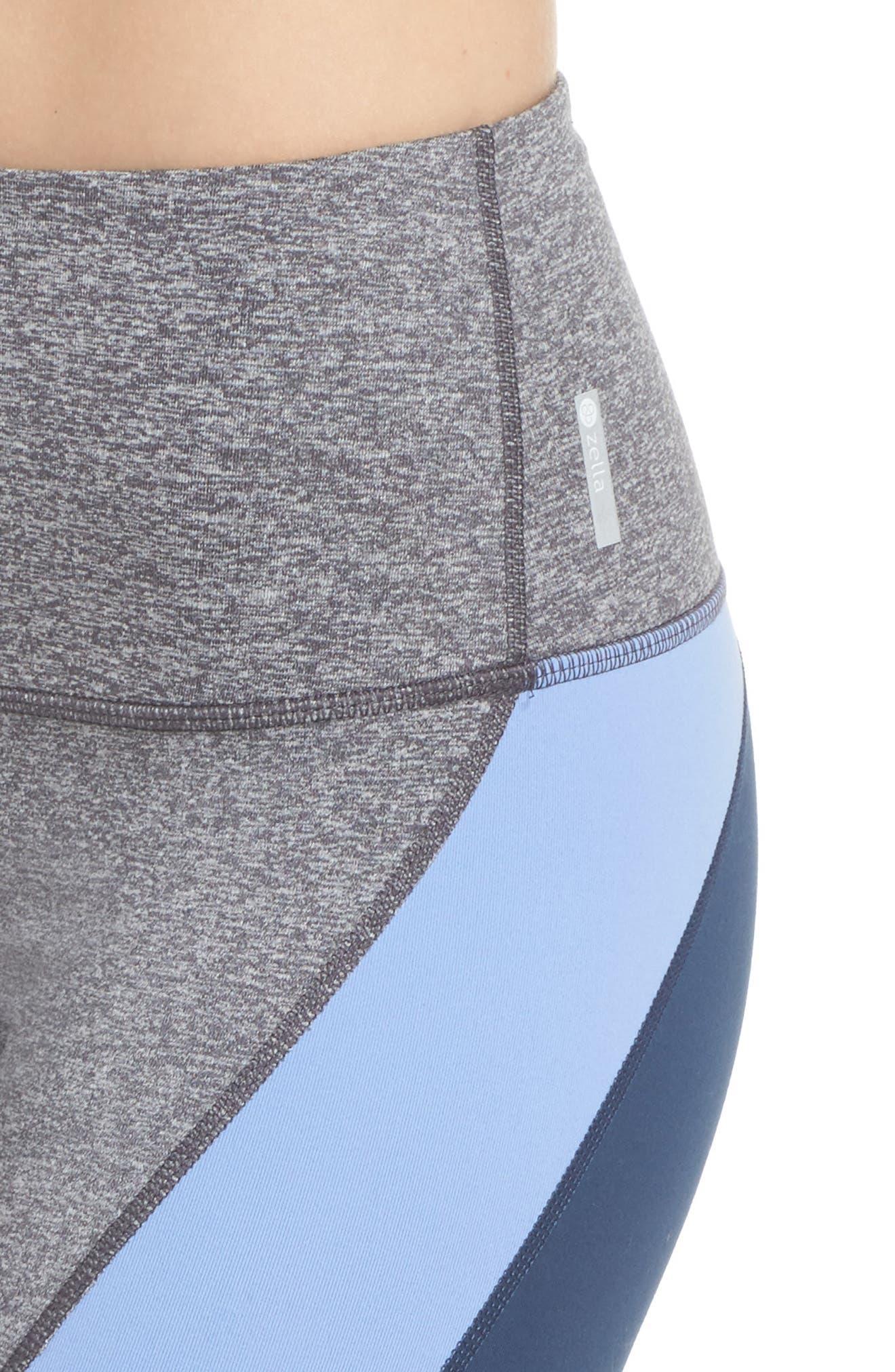 Get in Line High Waist Leggings,                             Alternate thumbnail 4, color,                             Grey Graphite Melange