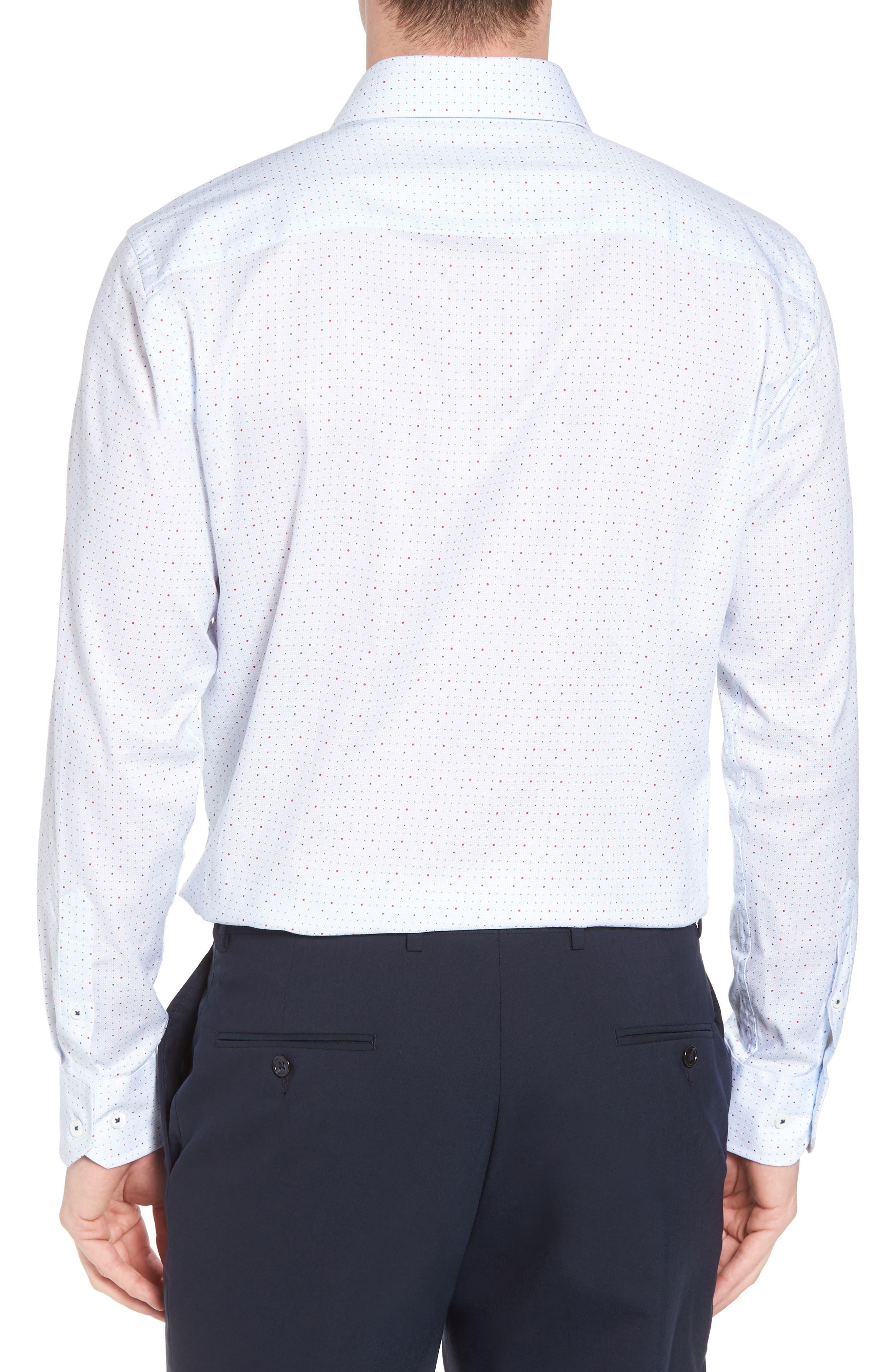 Trim Fit Dot Dress Shirt,                             Alternate thumbnail 3, color,                             Ice Blue