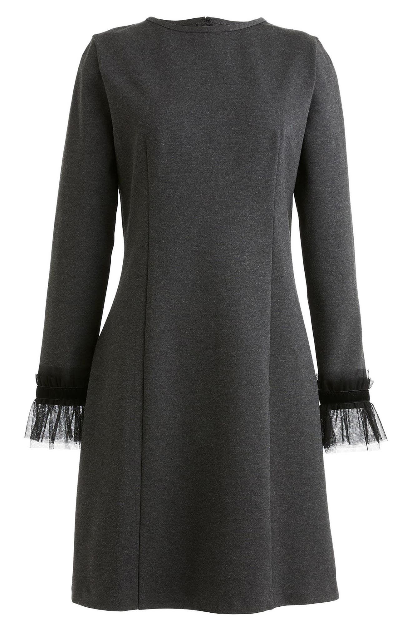 J.Crew Tulle Trim Long Sleeve Sheath Dress,                             Alternate thumbnail 3, color,                             Heather Grey
