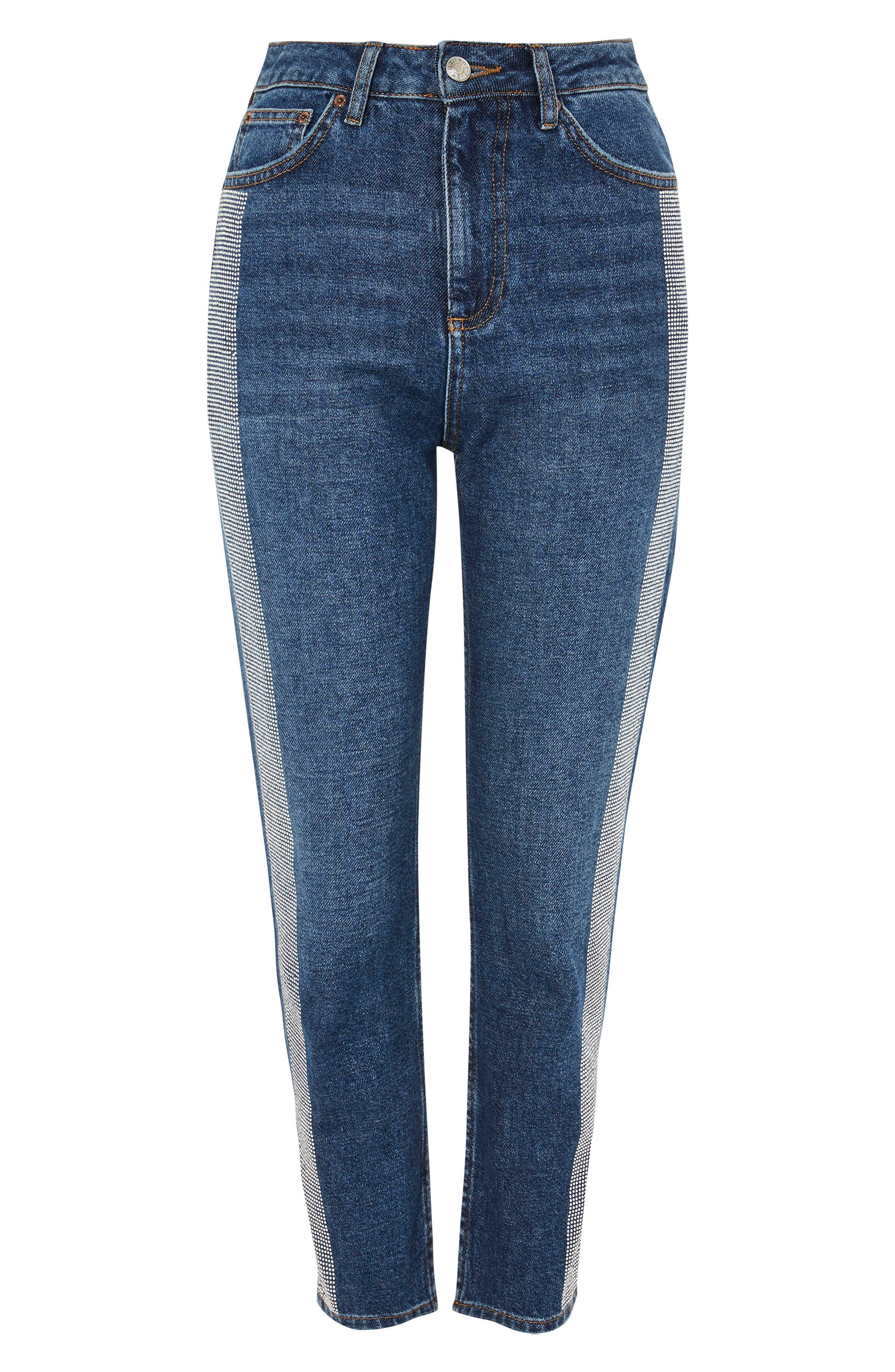 Diamante Stripe Straight Leg Jeans,                             Alternate thumbnail 6, color,                             Mid Denim