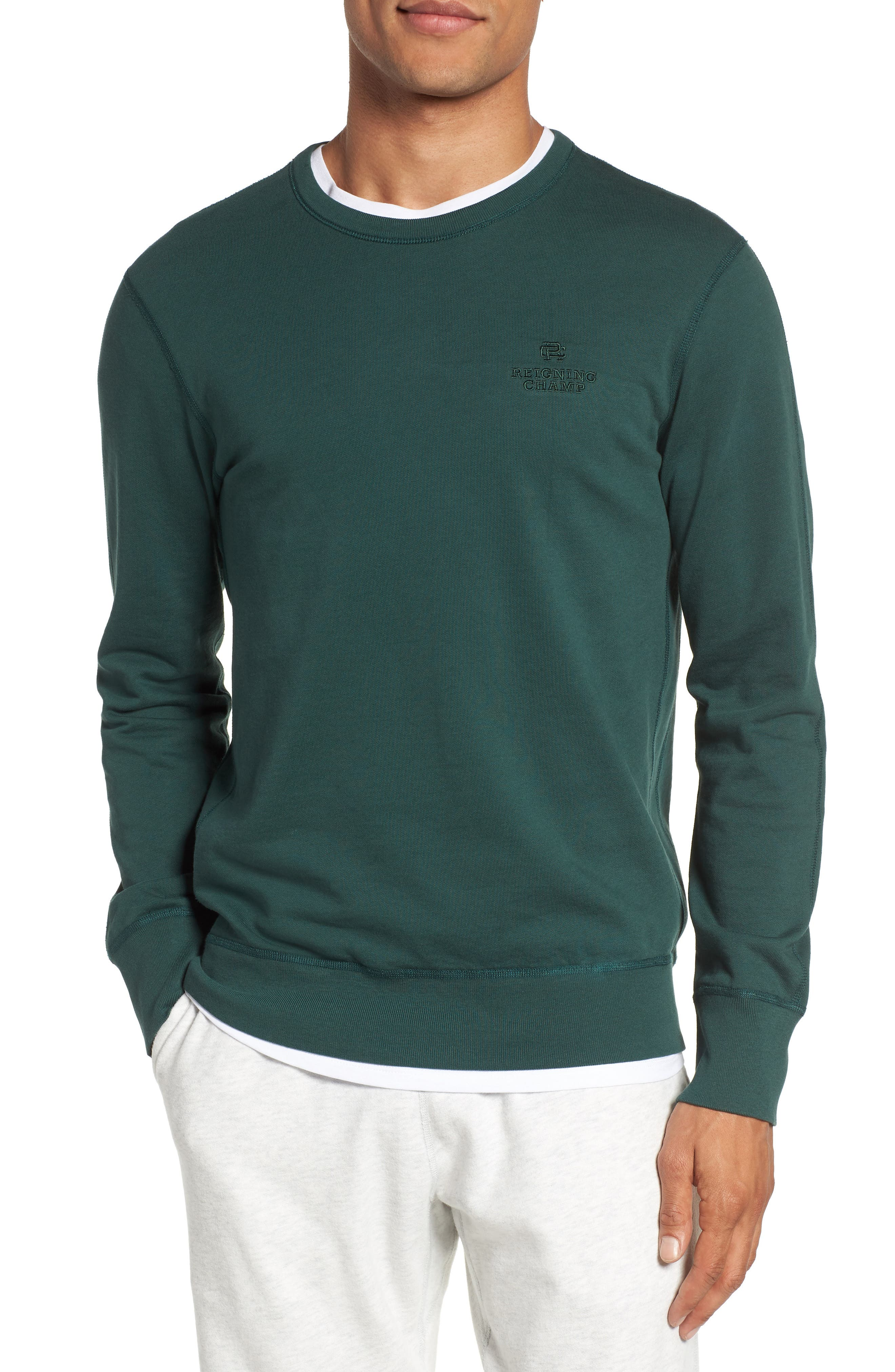 Embroidered Logo Crewneck Sweatshirt,                         Main,                         color, Court Green