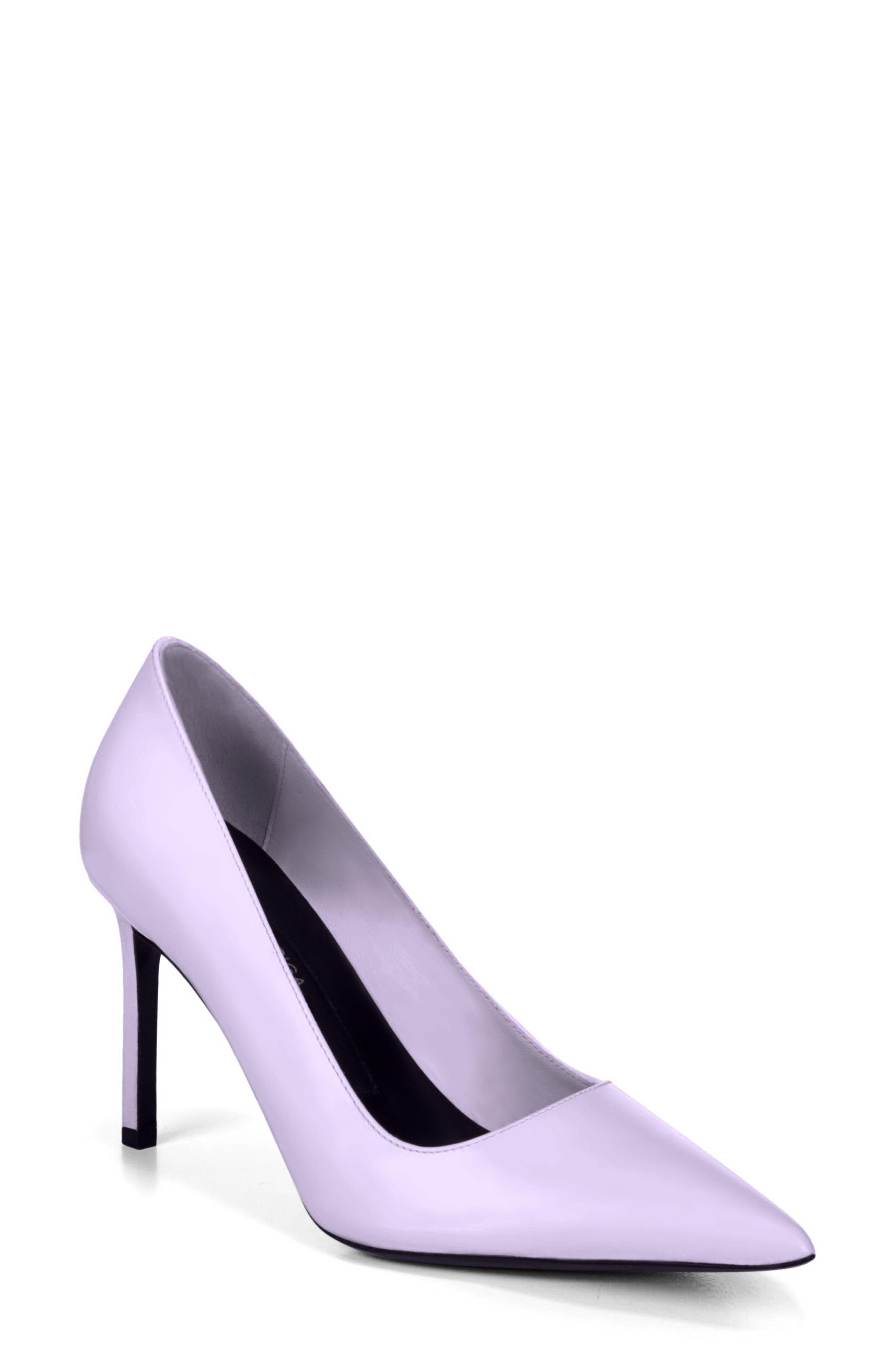 Nikole Pointy Toe Pump,                             Main thumbnail 1, color,                             Lilac Leather