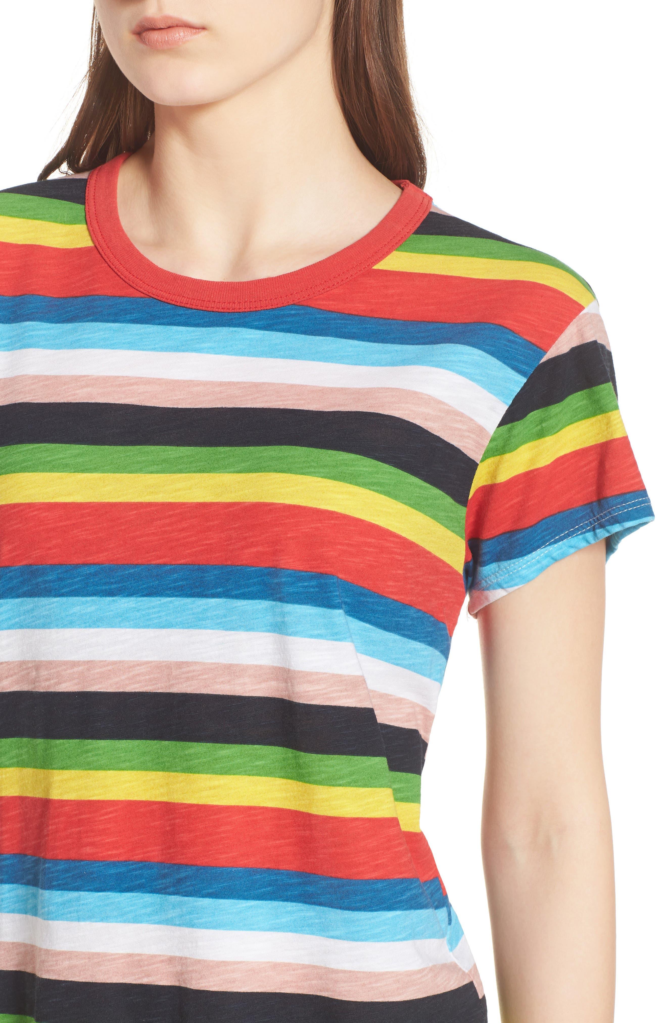 Rainbow Stripe Ringer Tee,                             Alternate thumbnail 4, color,                             Multi