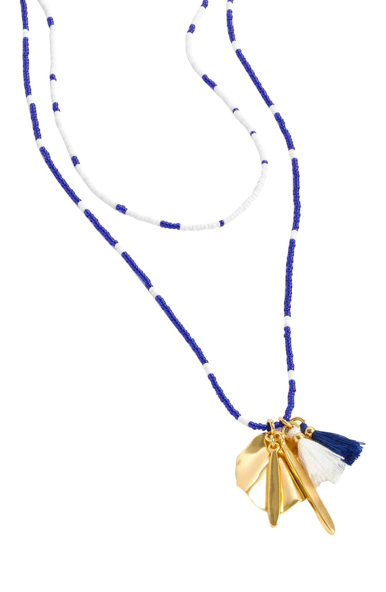 J.Crew Beaded Shell & Tassel Pendant Necklace