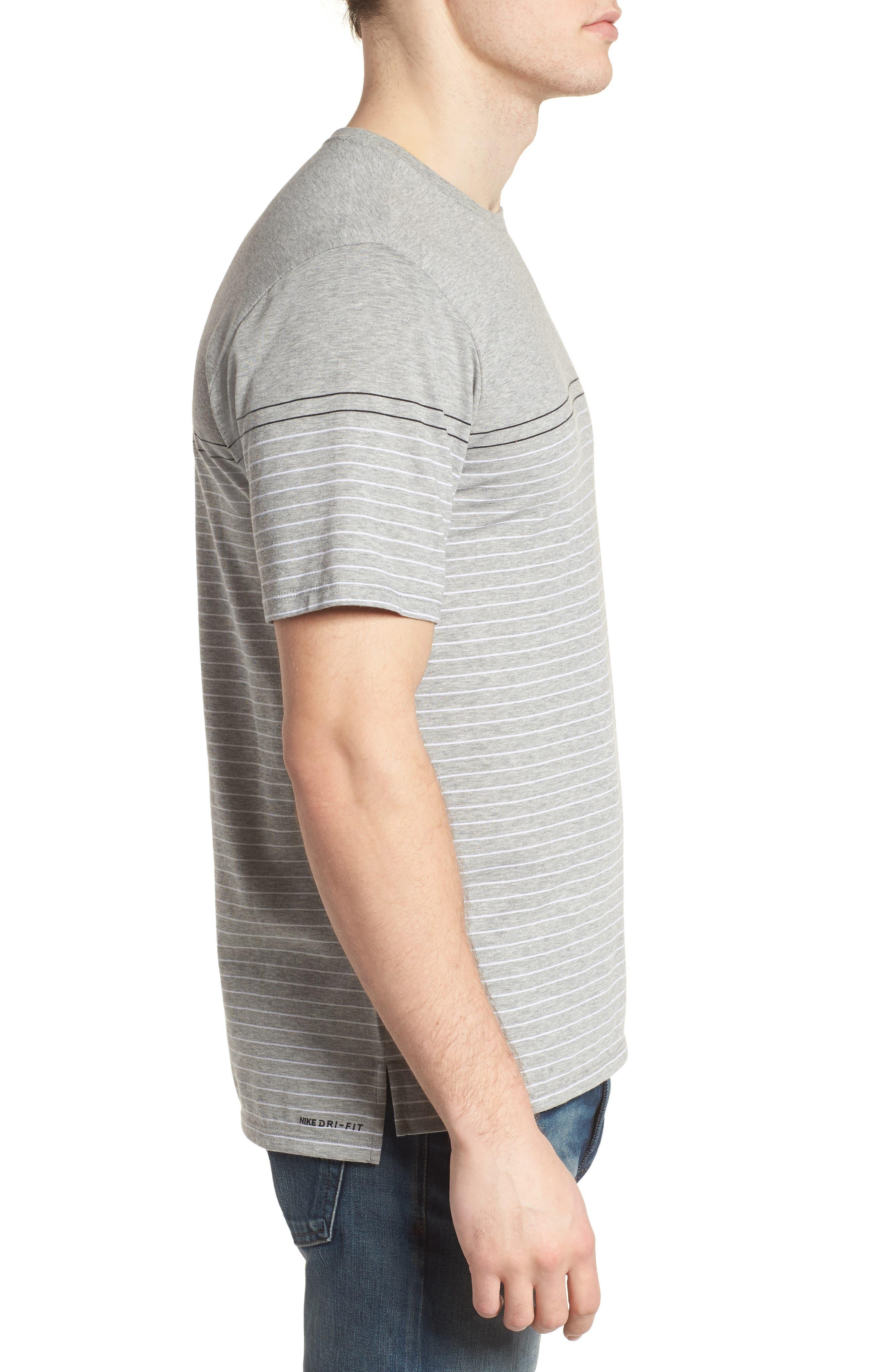 Dry Doheny Stripe T-Shirt,                             Alternate thumbnail 3, color,                             Dark Heather Grey