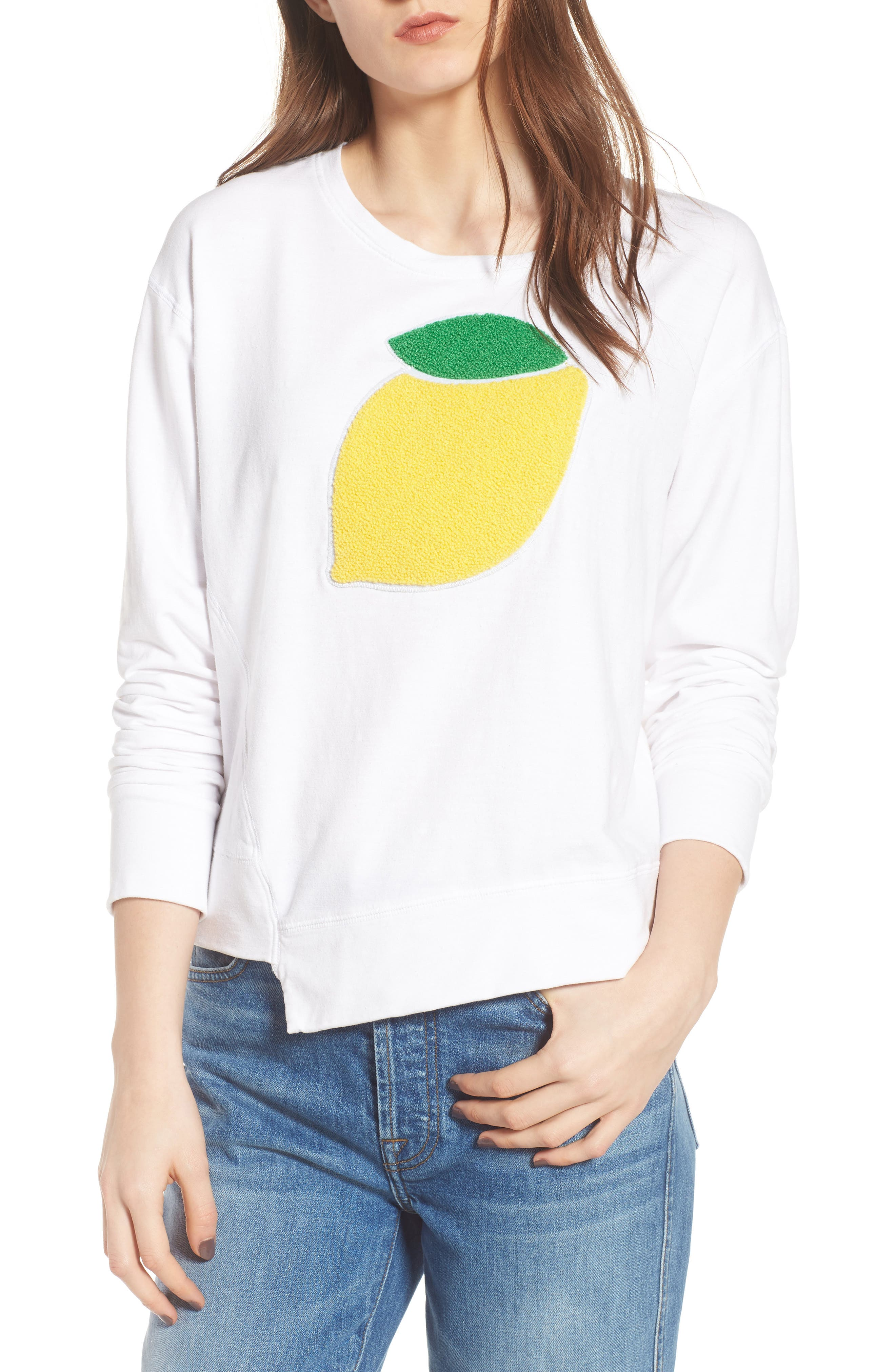 Lemon Asymmetrical Hem Pullover,                         Main,                         color, White