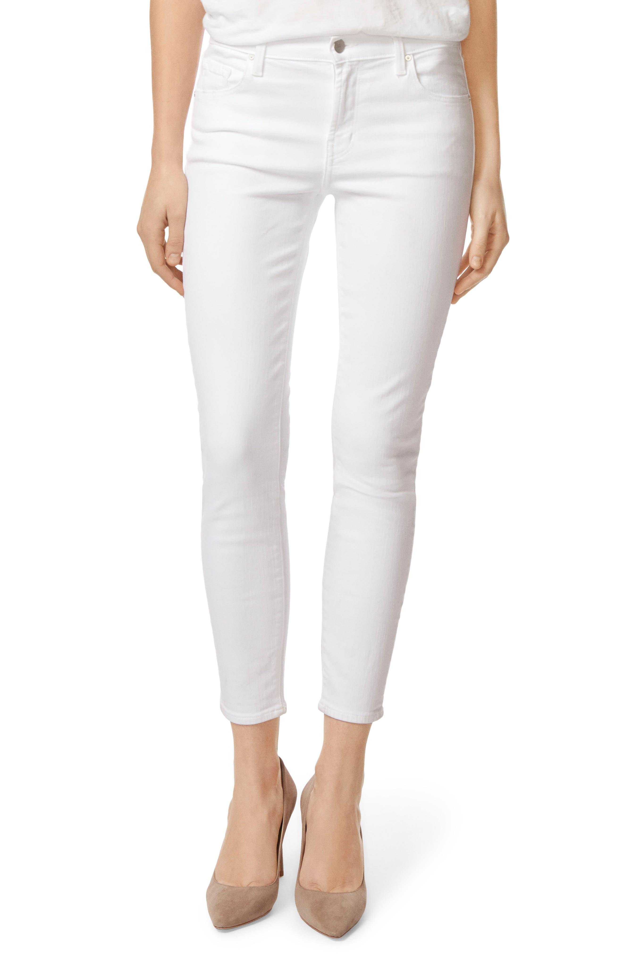 J Brand Mid-Rise Capri Skinny Jeans (White Sateen Blanc)