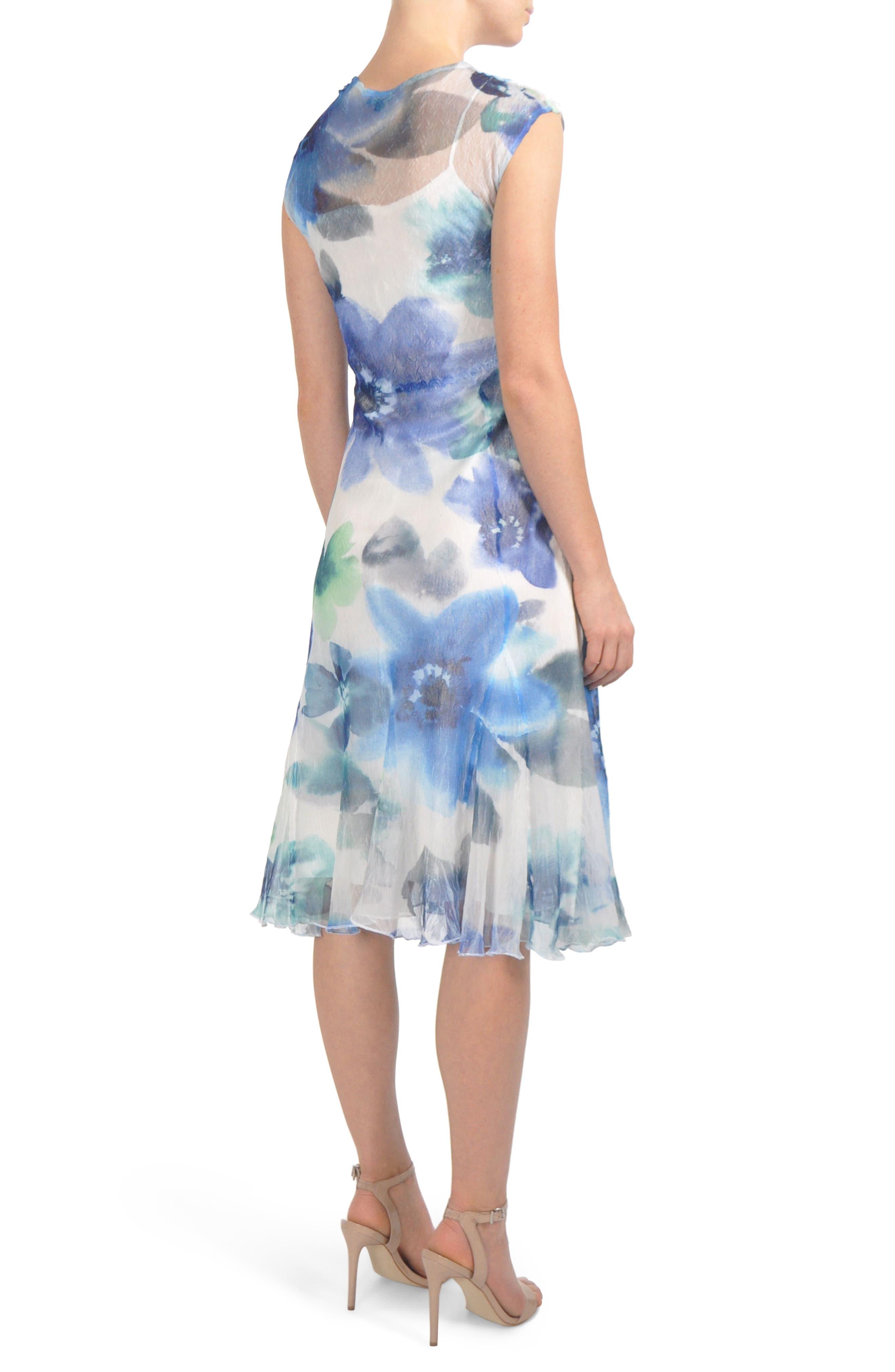 V-Neck Chiffon Tea Length Dress,                             Alternate thumbnail 2, color,                             Azure Rainbow