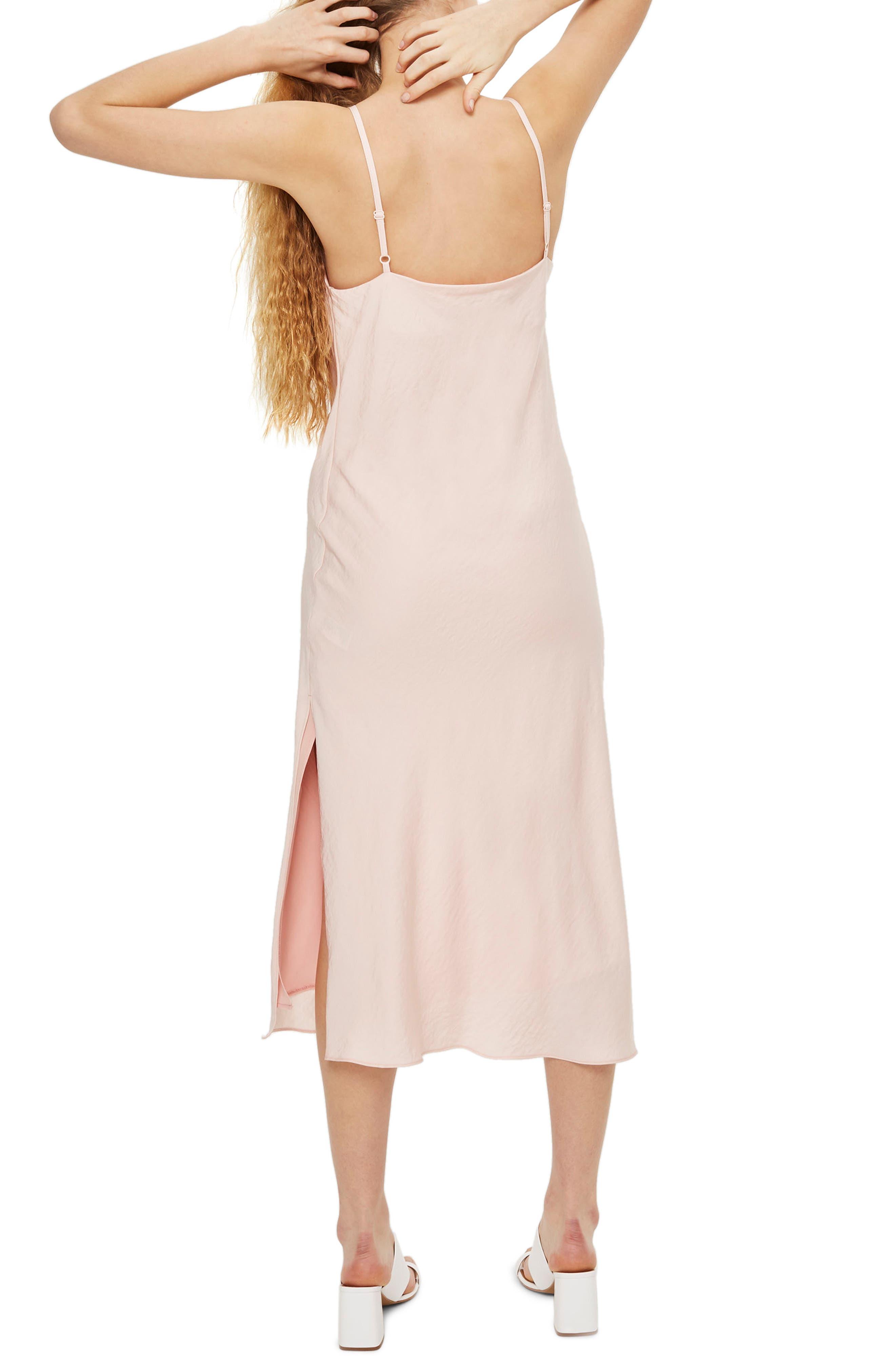 Cowl Neck Satin Midi Dress,                             Alternate thumbnail 3, color,                             Blush