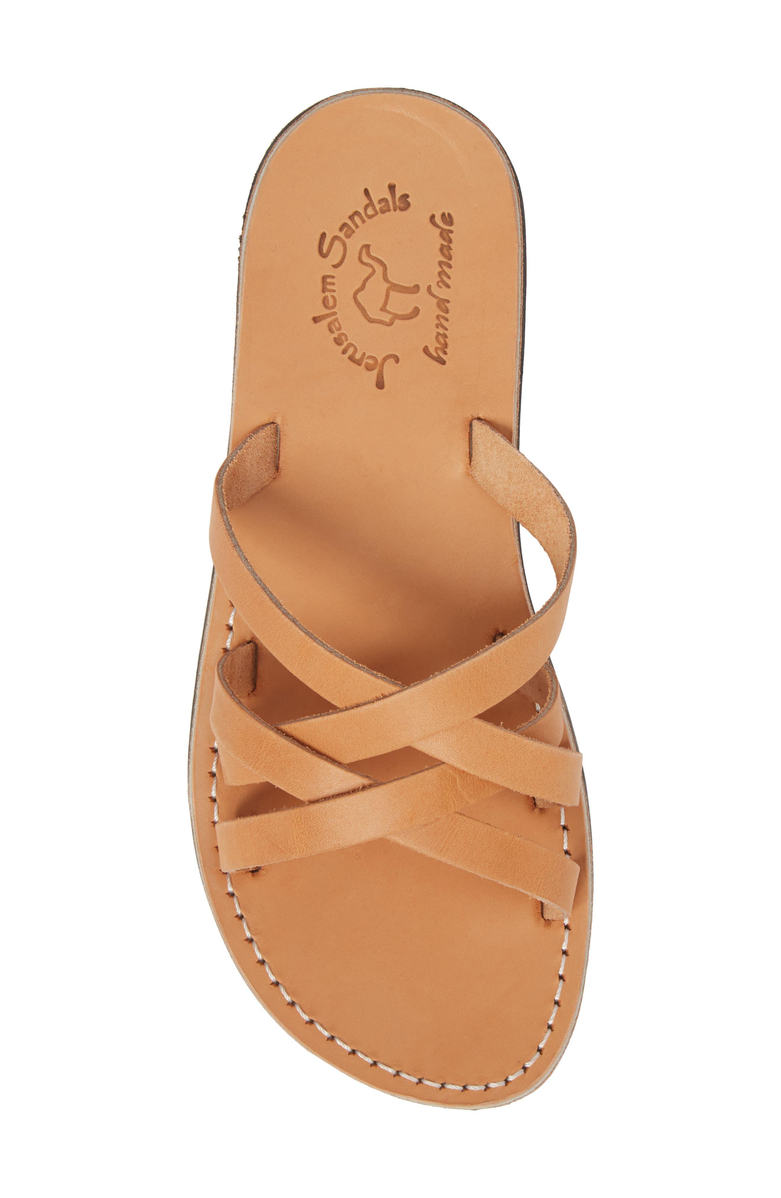 Gad Cross Strap Slide Sandal,                             Alternate thumbnail 5, color,                             Tan Leather