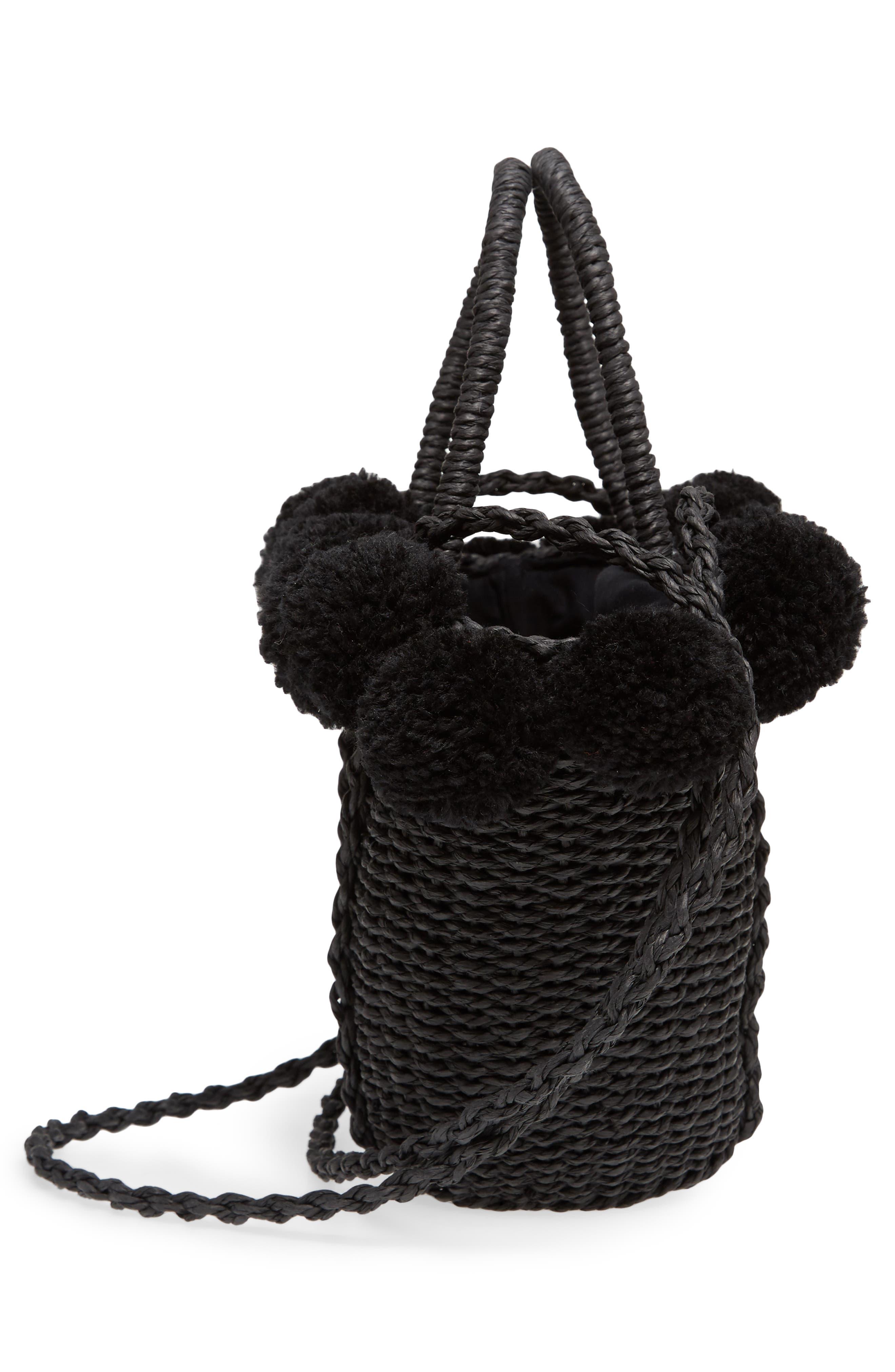 Sia Pom Straw Shopper Bag,                             Alternate thumbnail 5, color,                             Black