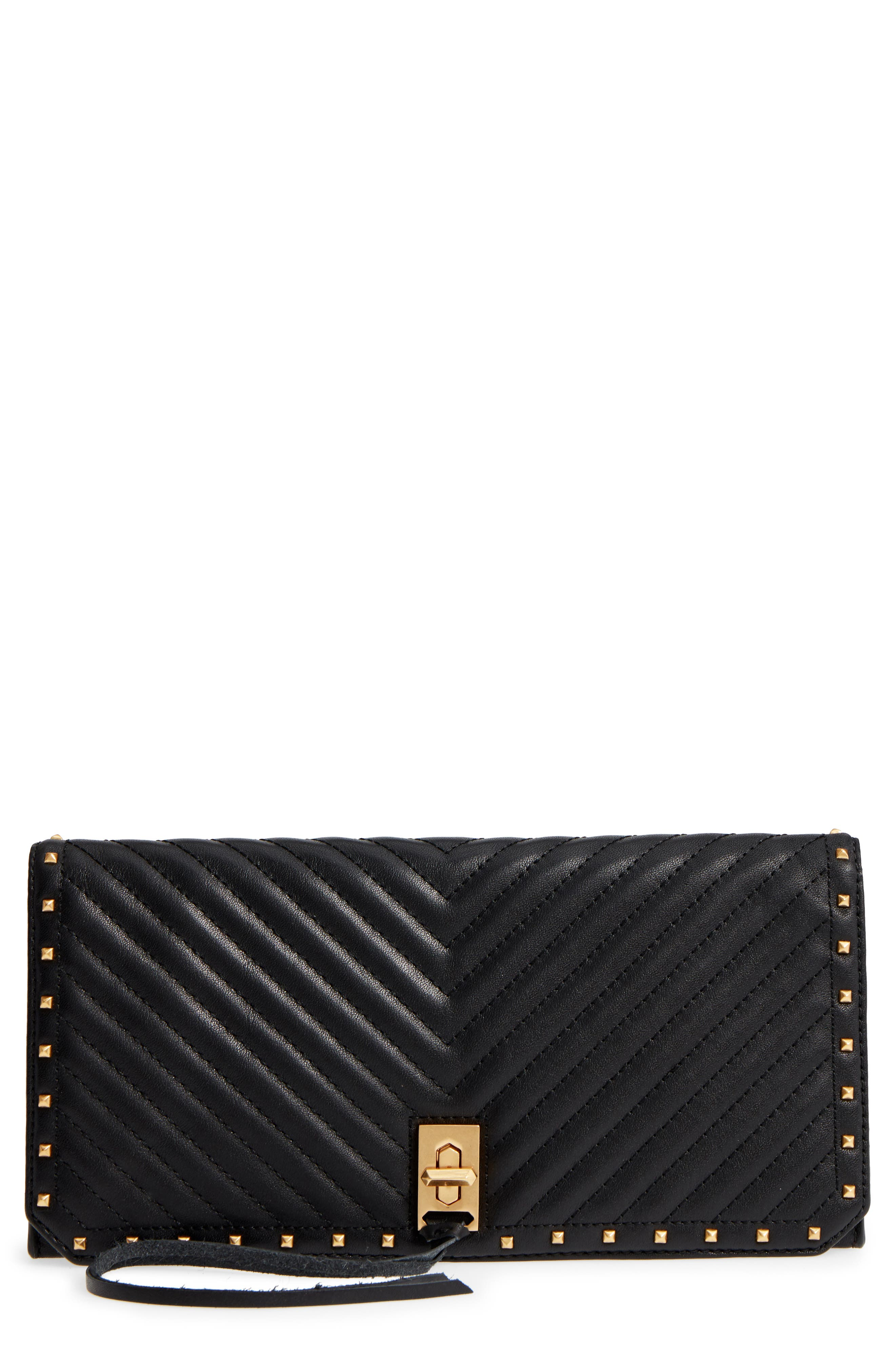 Becky Quilted Leather Clutch,                             Main thumbnail 1, color,                             Black