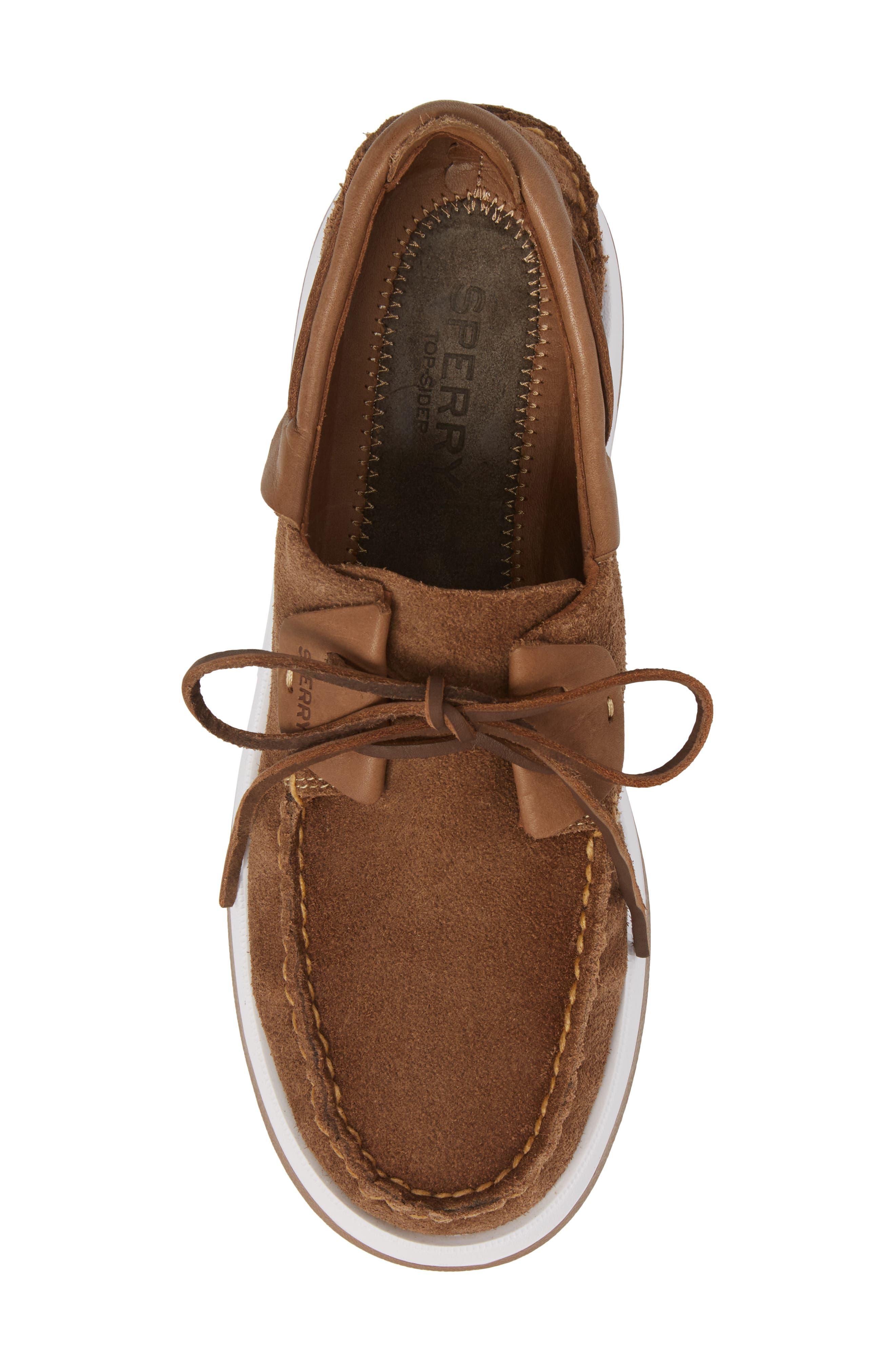 Caspian Boat Shoe,                             Alternate thumbnail 5, color,                             Tan Leather/ Suede