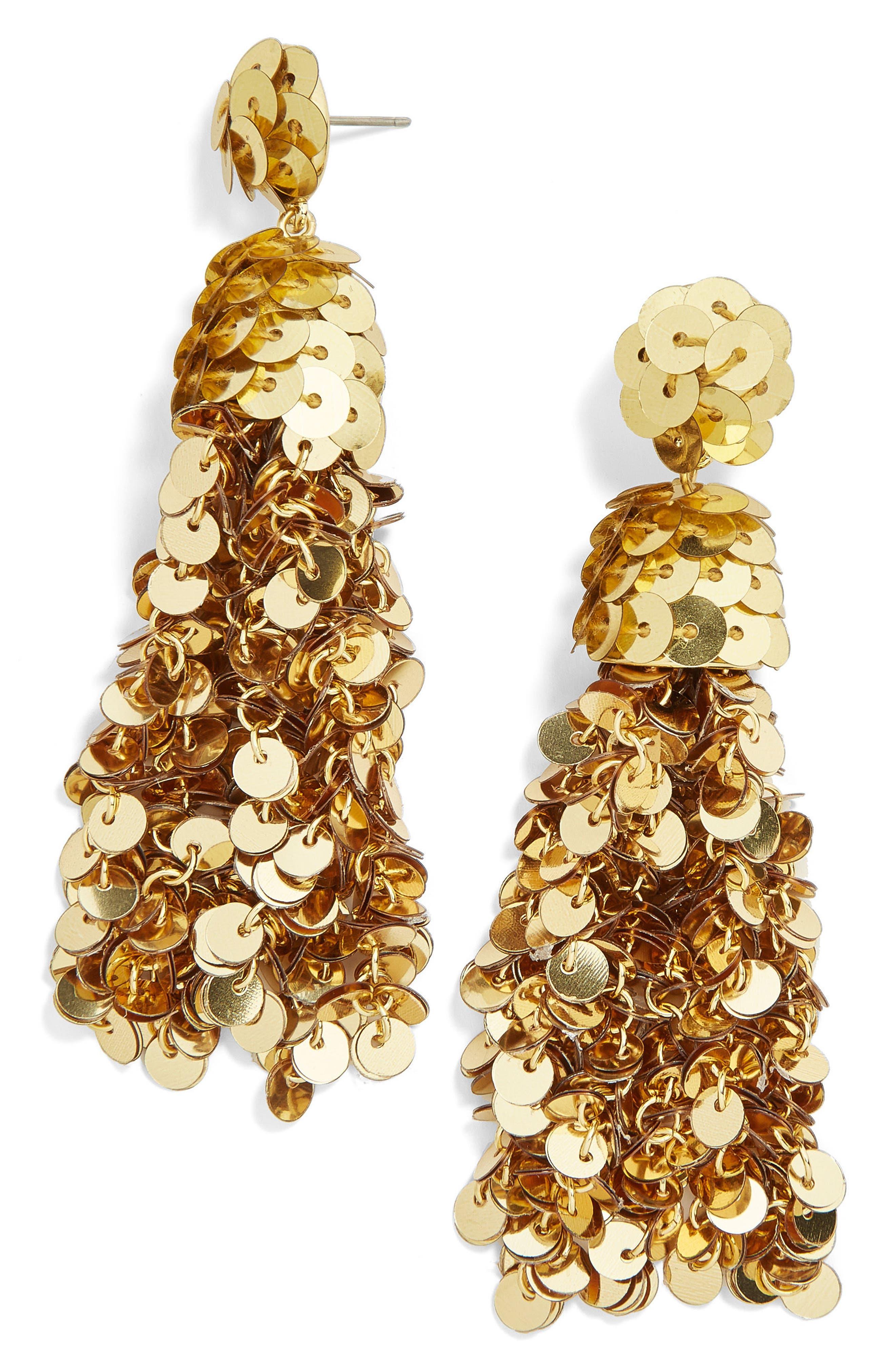 Sequin Pinata Tassel Earrings,                         Main,                         color, Gold