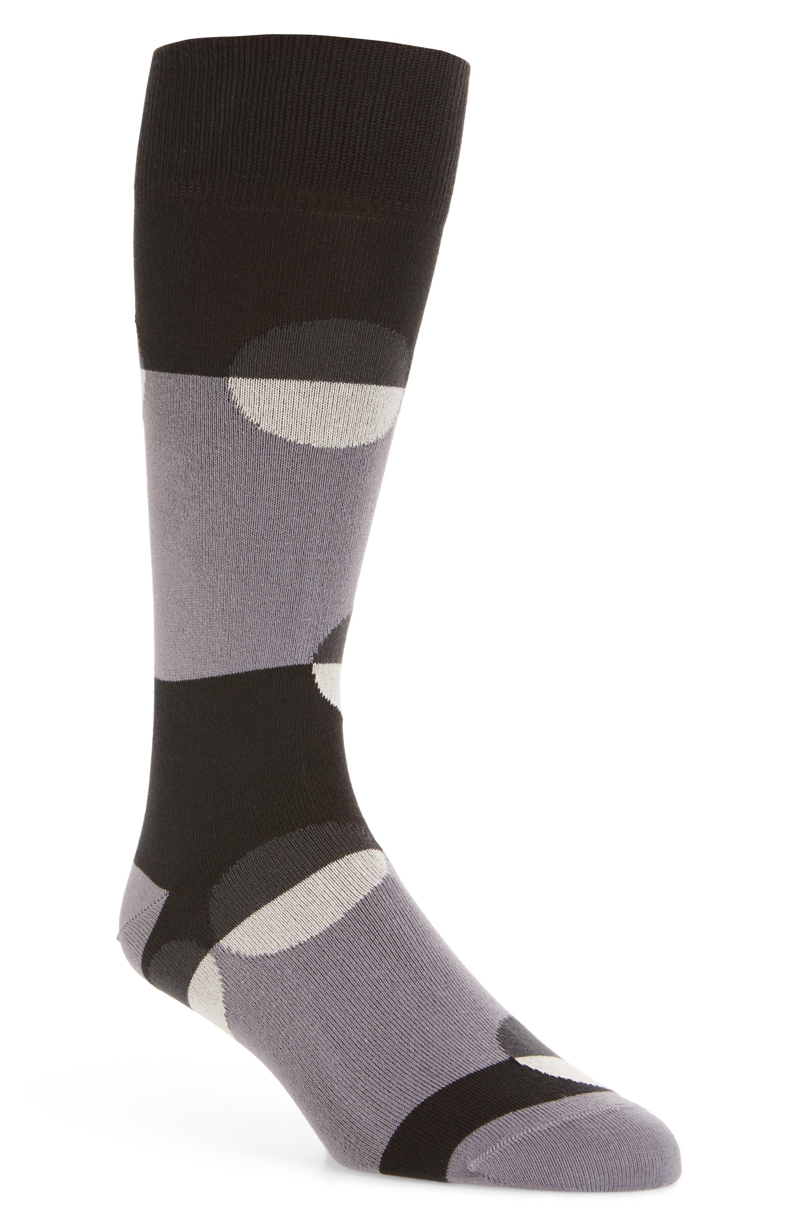 Crescent Dot Socks,                         Main,                         color, Black