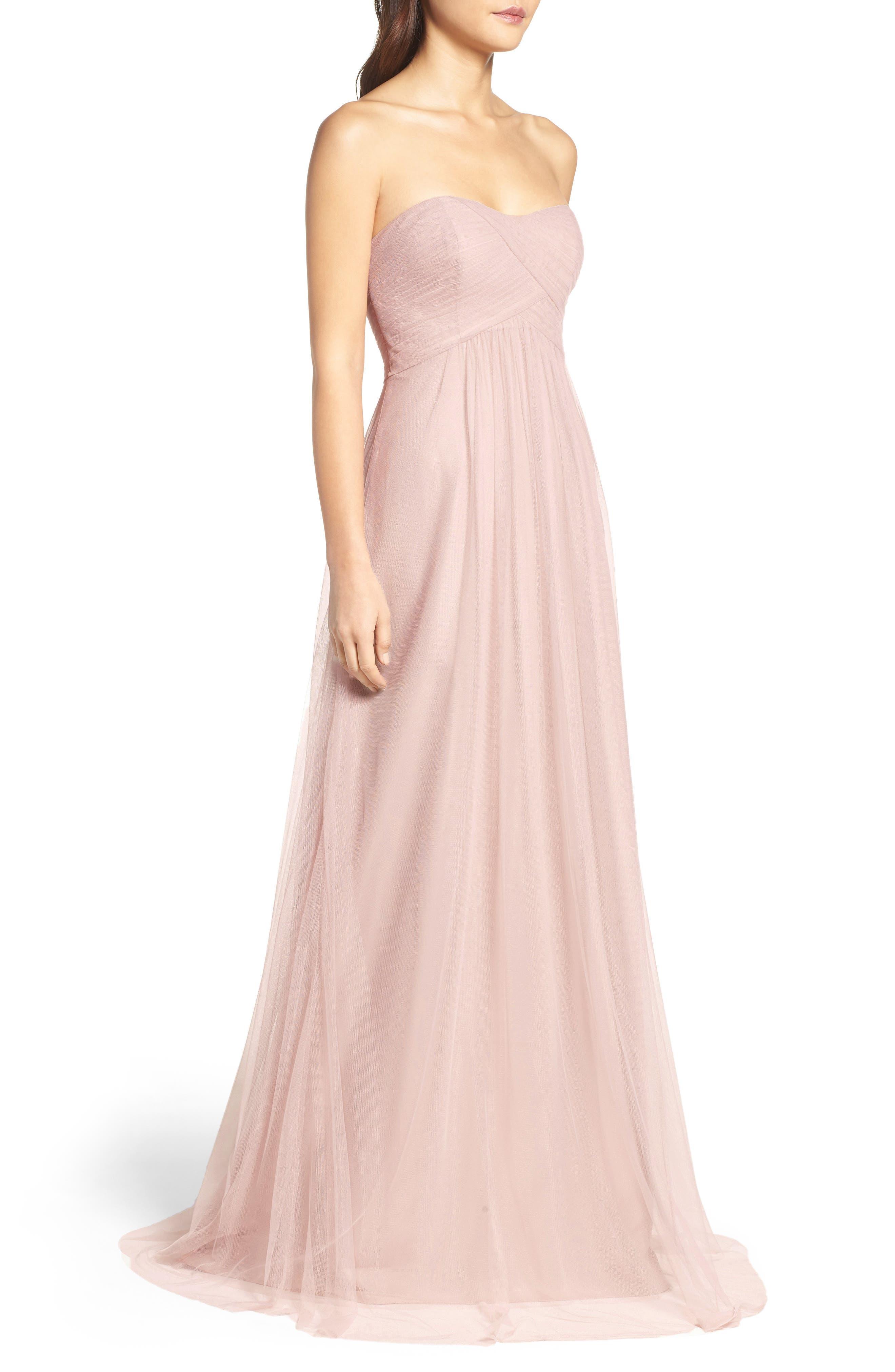 Strapless Tulle Gown,                             Alternate thumbnail 3, color,                             Latte