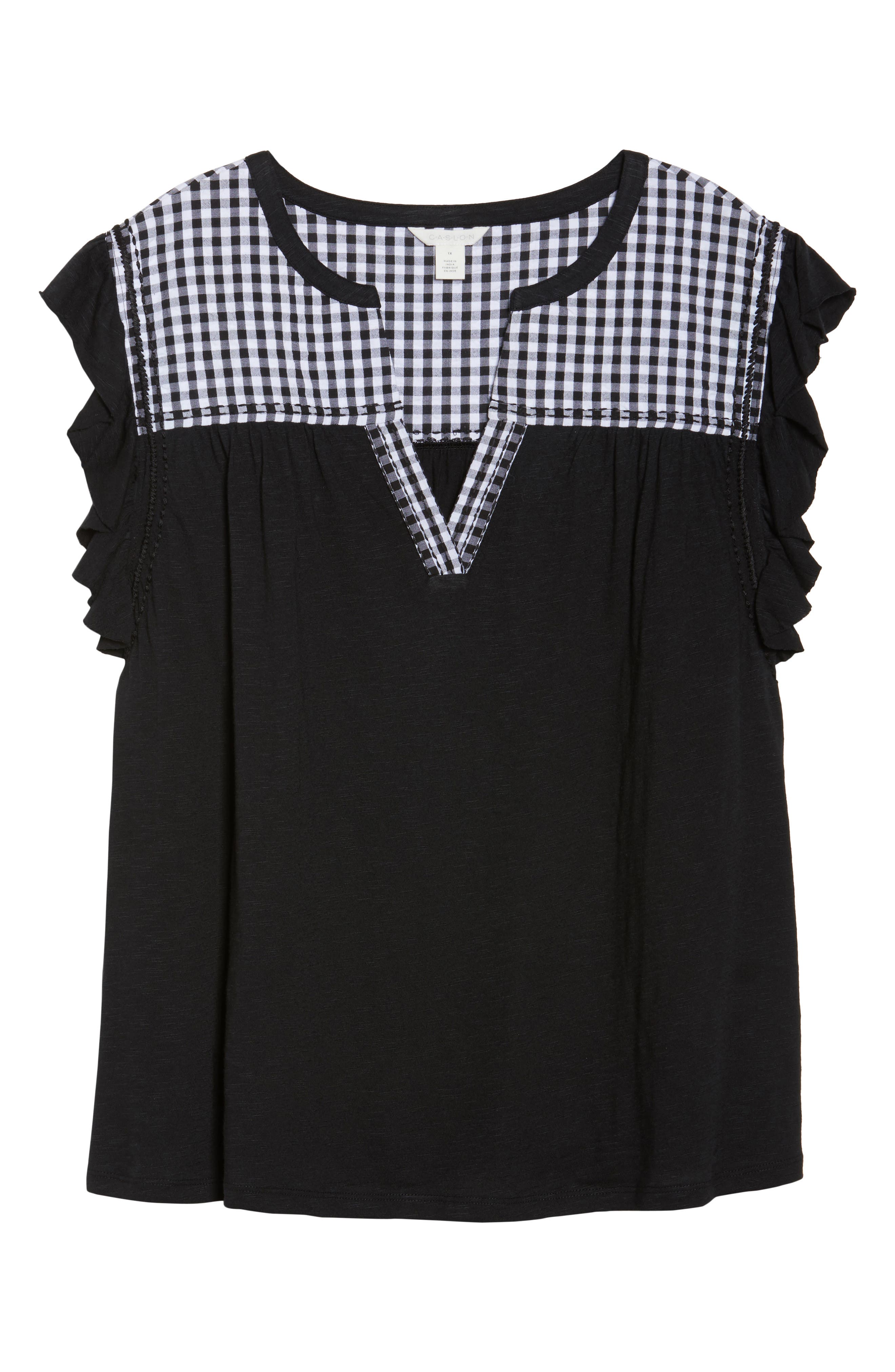 Mixed Media Top,                             Alternate thumbnail 7, color,                             Black- White Gingham