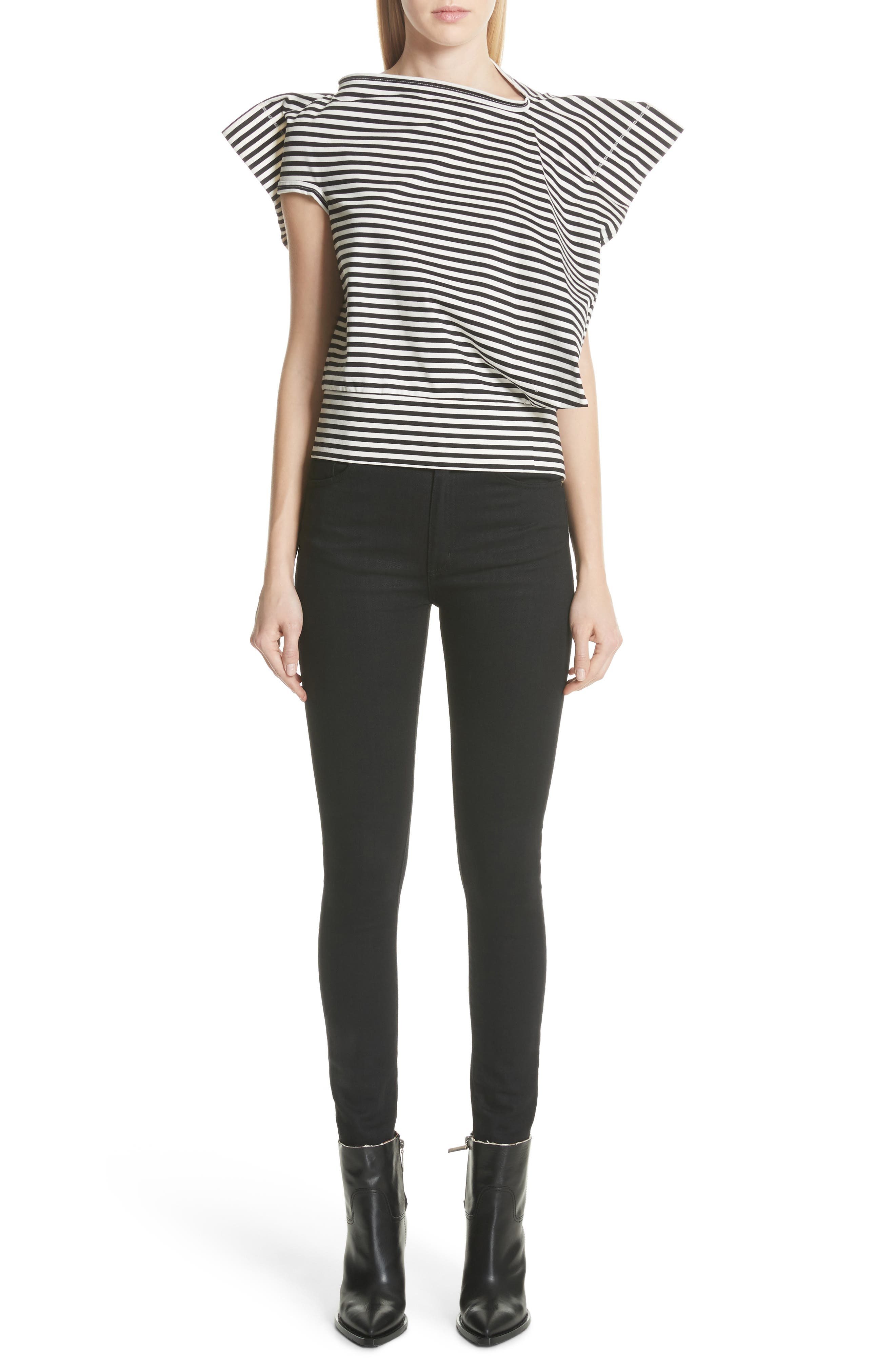 Stripe Top,                             Alternate thumbnail 7, color,                             Black/ Off White