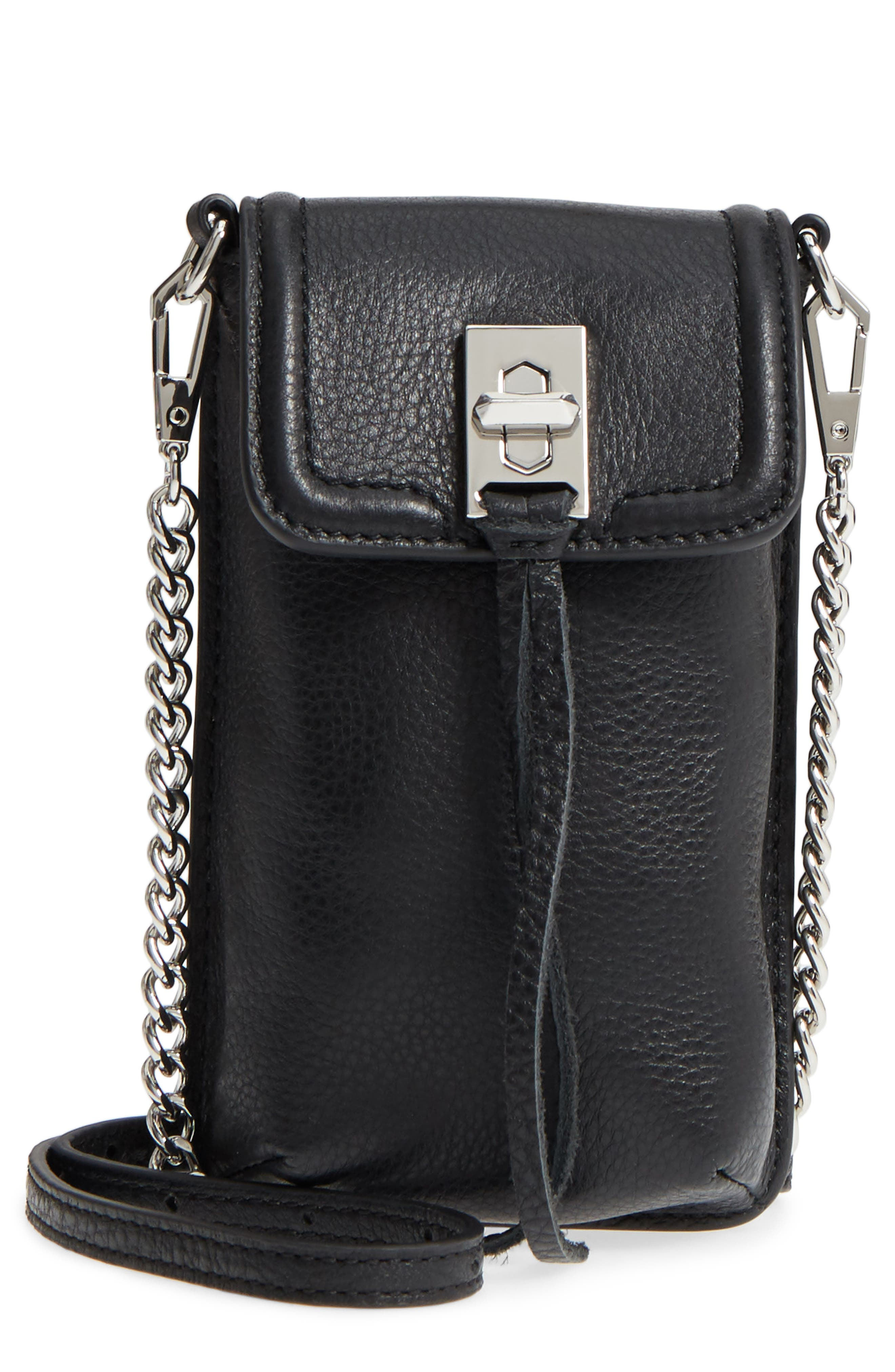 Darren Leather Phone Crossbody Bag,                             Main thumbnail 1, color,                             Black