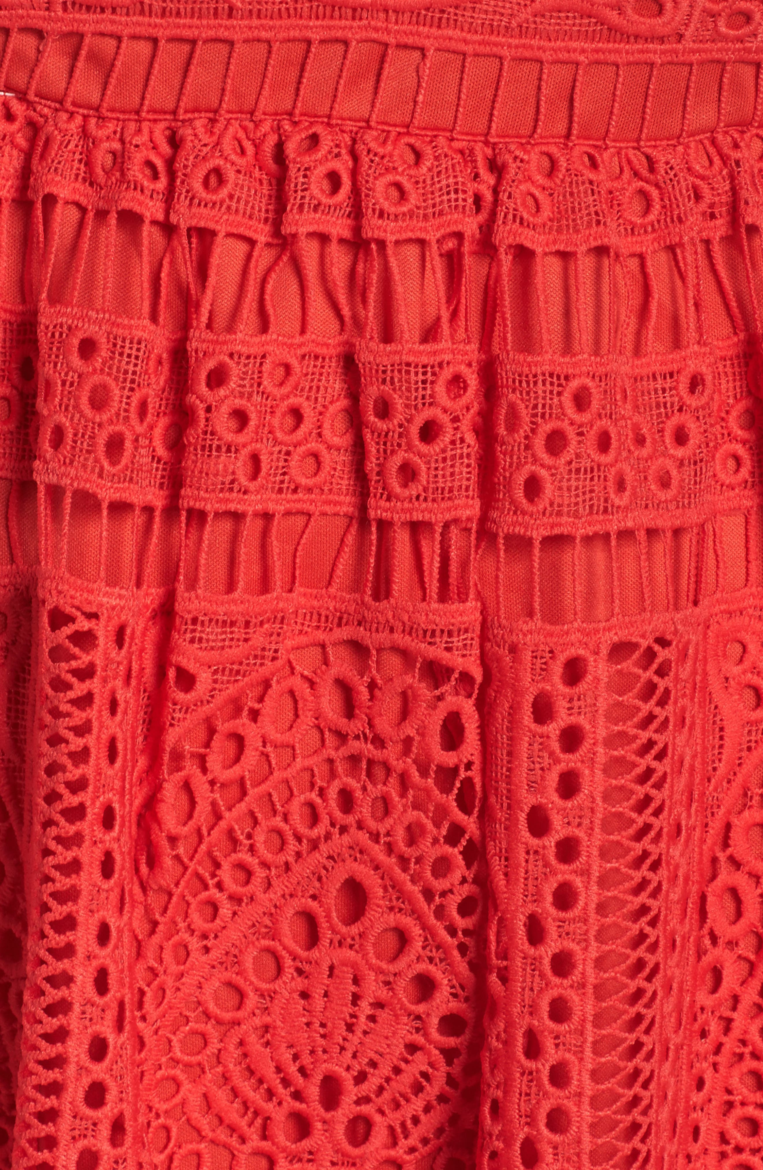 Eyelet Lace Fit & Flare Dress,                             Alternate thumbnail 5, color,                             Red