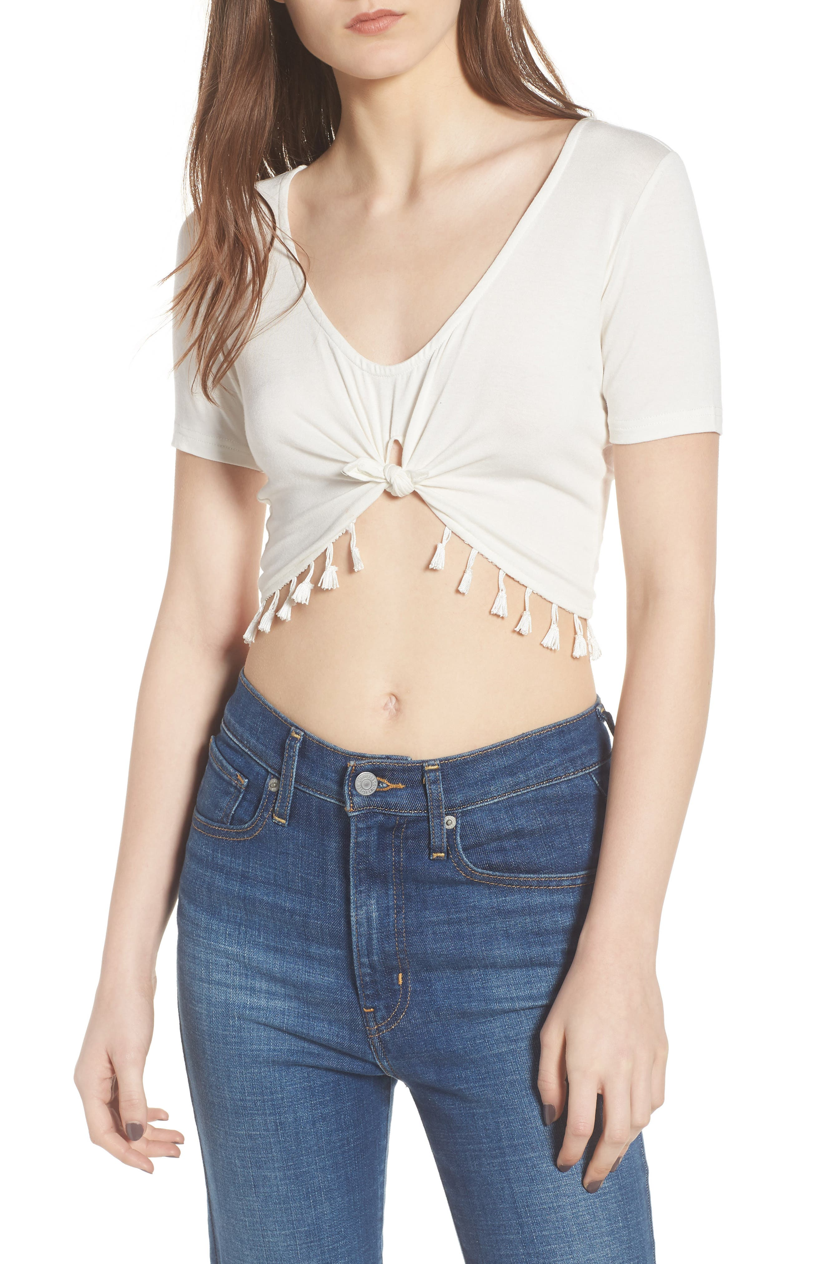 Show It Off Tassel Crop Top,                             Main thumbnail 1, color,                             Ivory