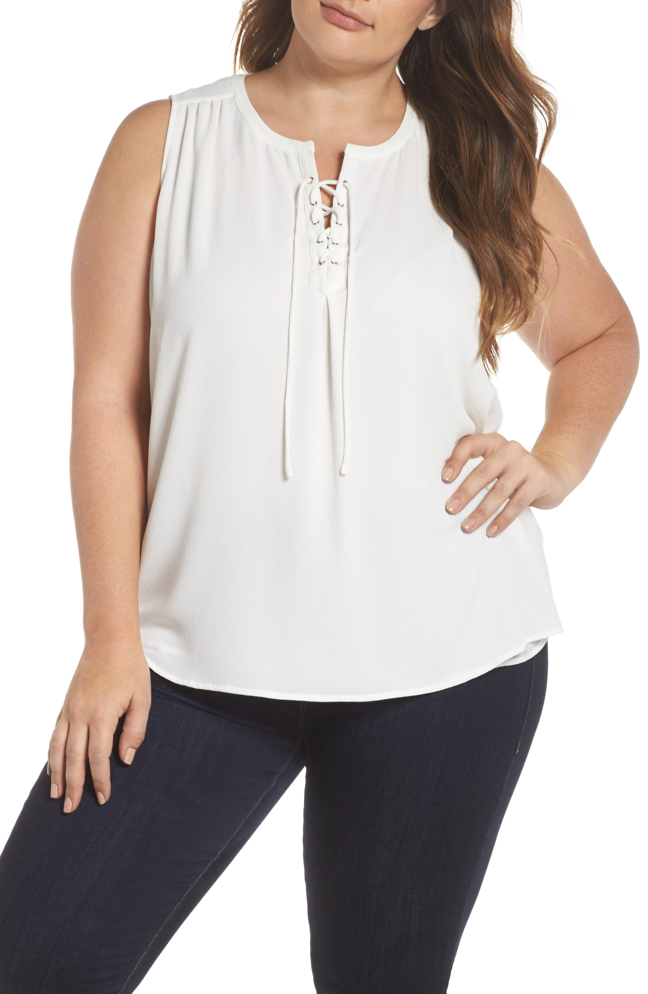 Lace-Up Sleeveless Blouse,                         Main,                         color, New Ivory