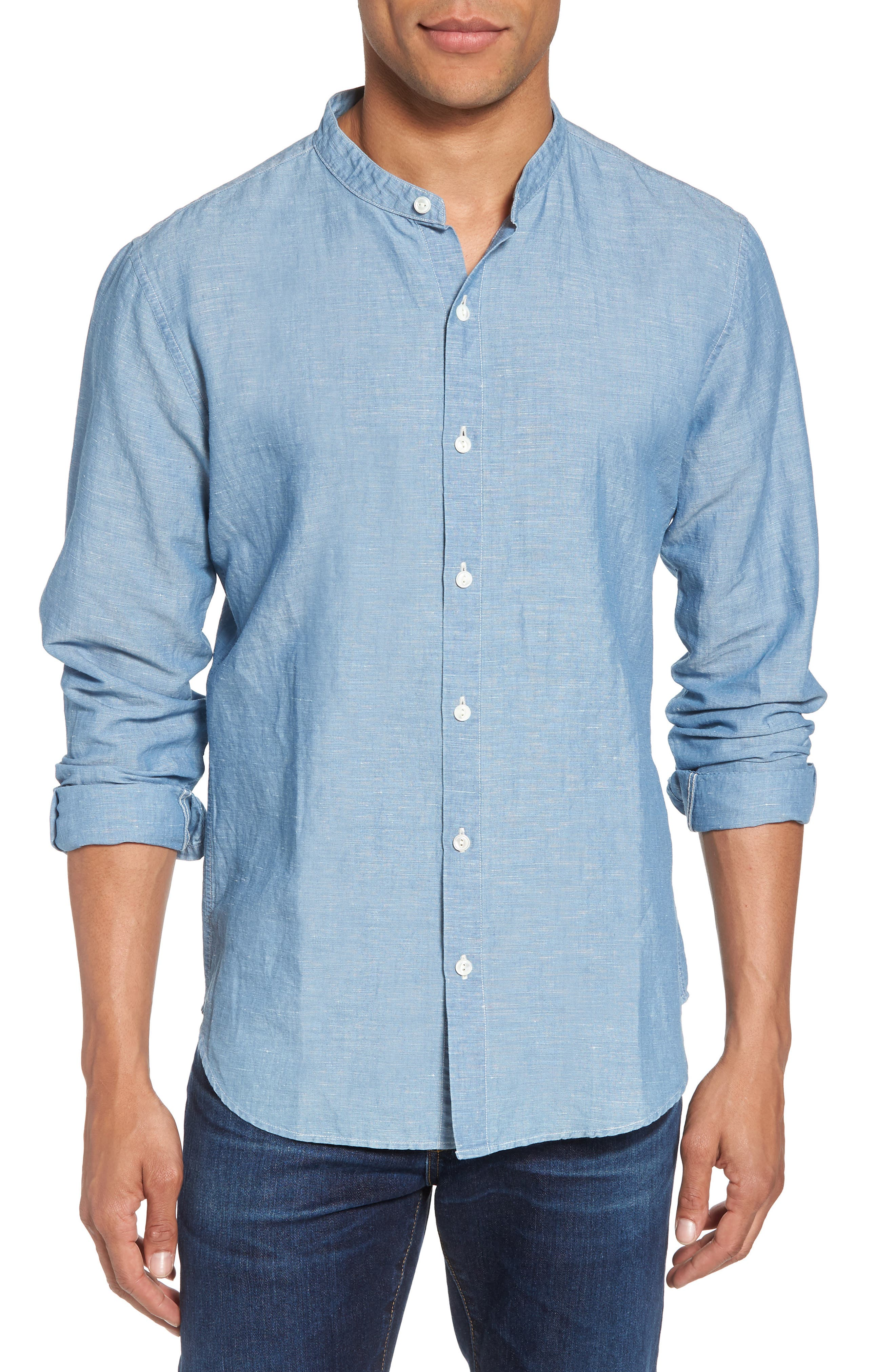 Trim Fit Chambray Sport Shirt,                         Main,                         color, Chambray Bleach Wash
