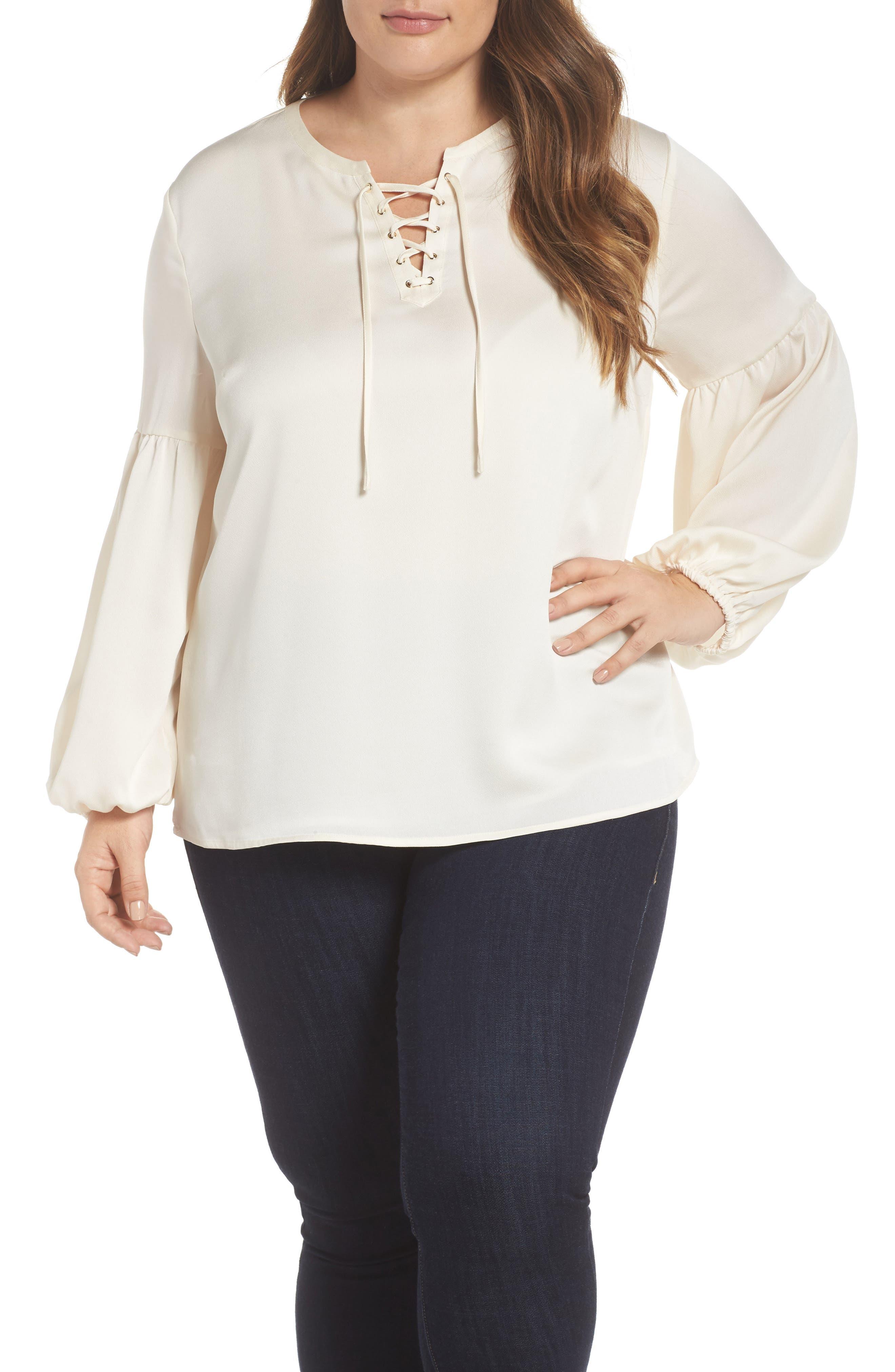 Lace-Up Blouse,                         Main,                         color, Antique White