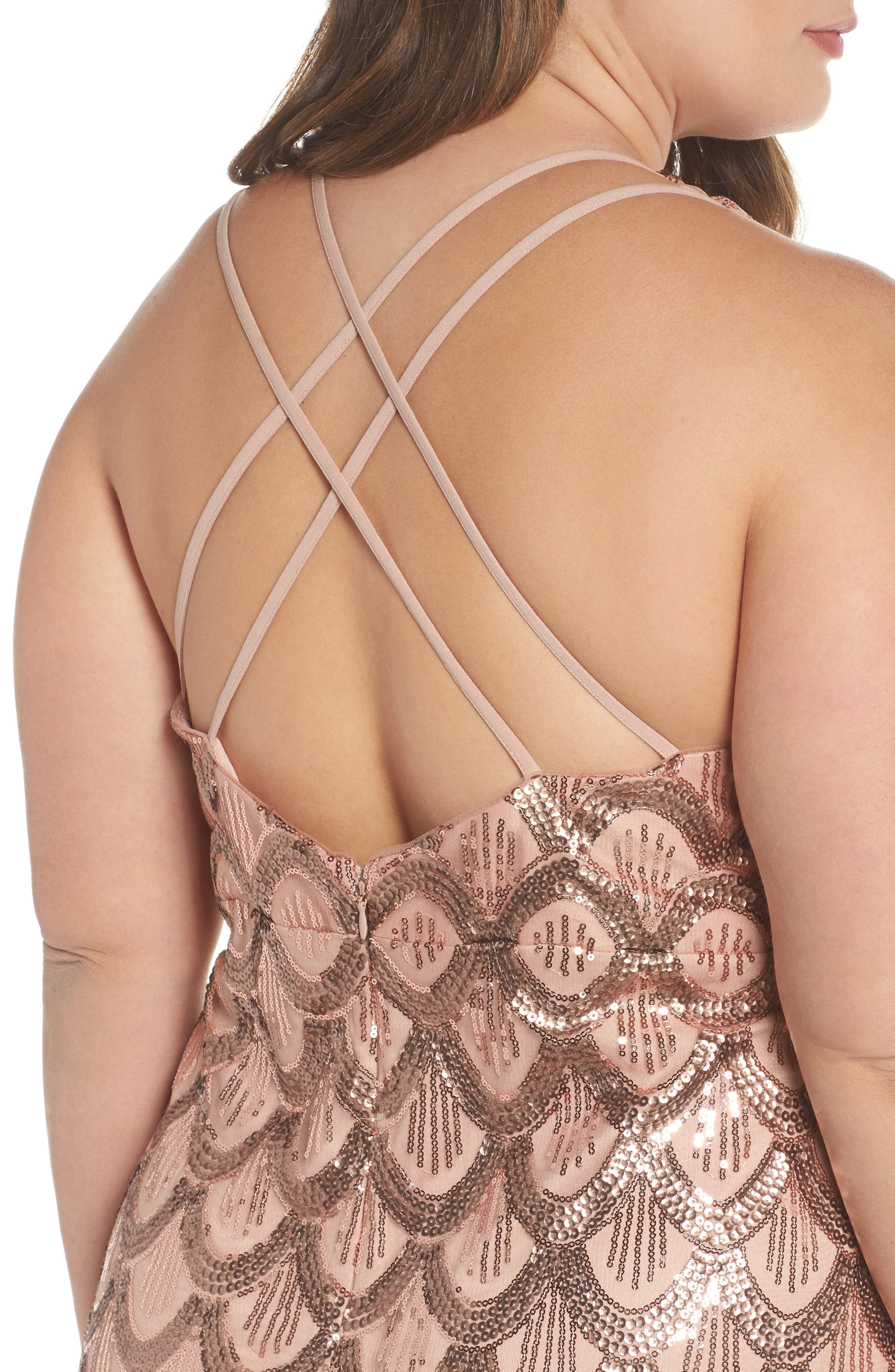 Sequin Cross Back Gown,                             Alternate thumbnail 4, color,                             Rose Gold