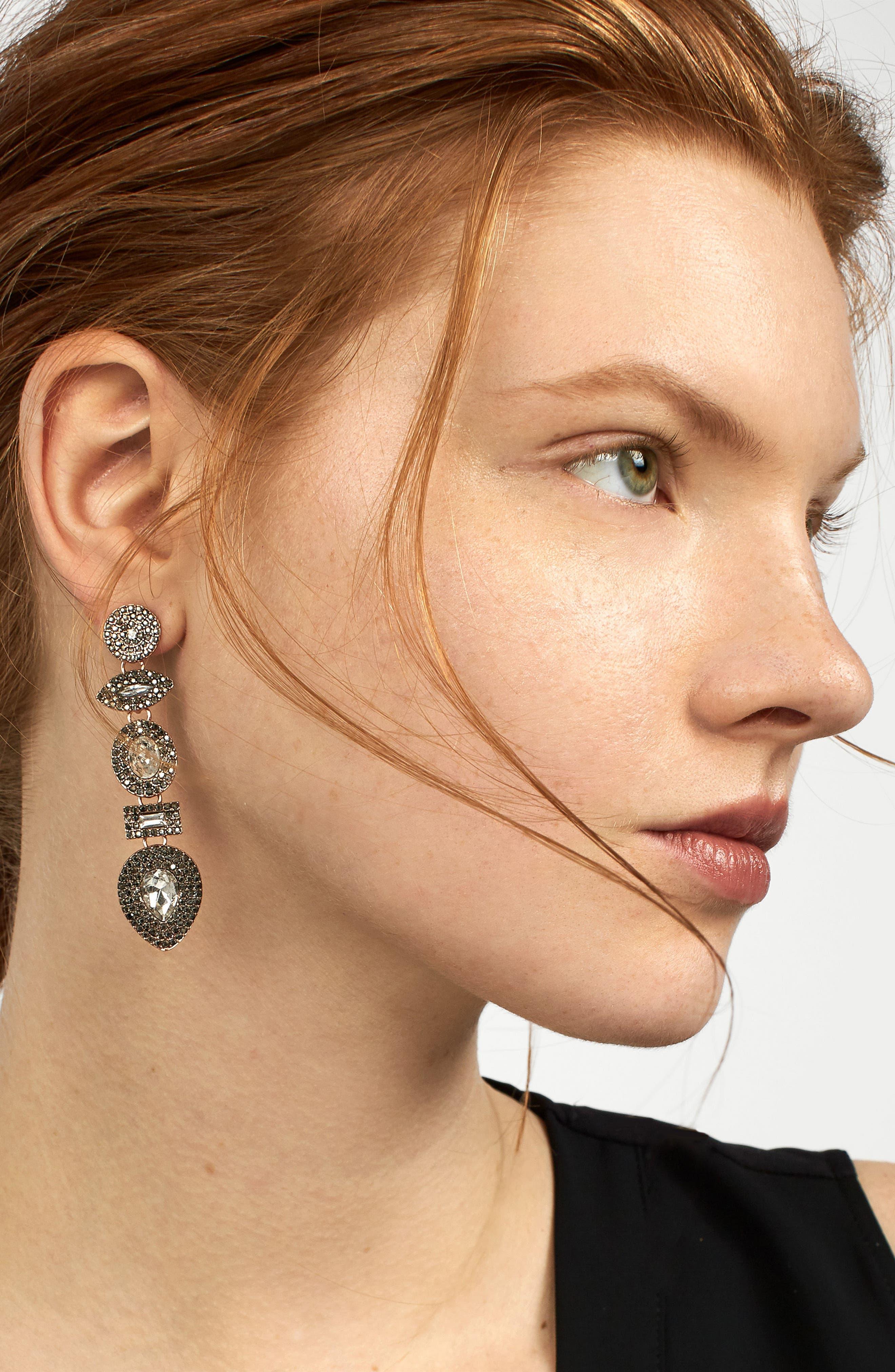 Dina Drop Earrings,                             Alternate thumbnail 2, color,                             Dark Grey