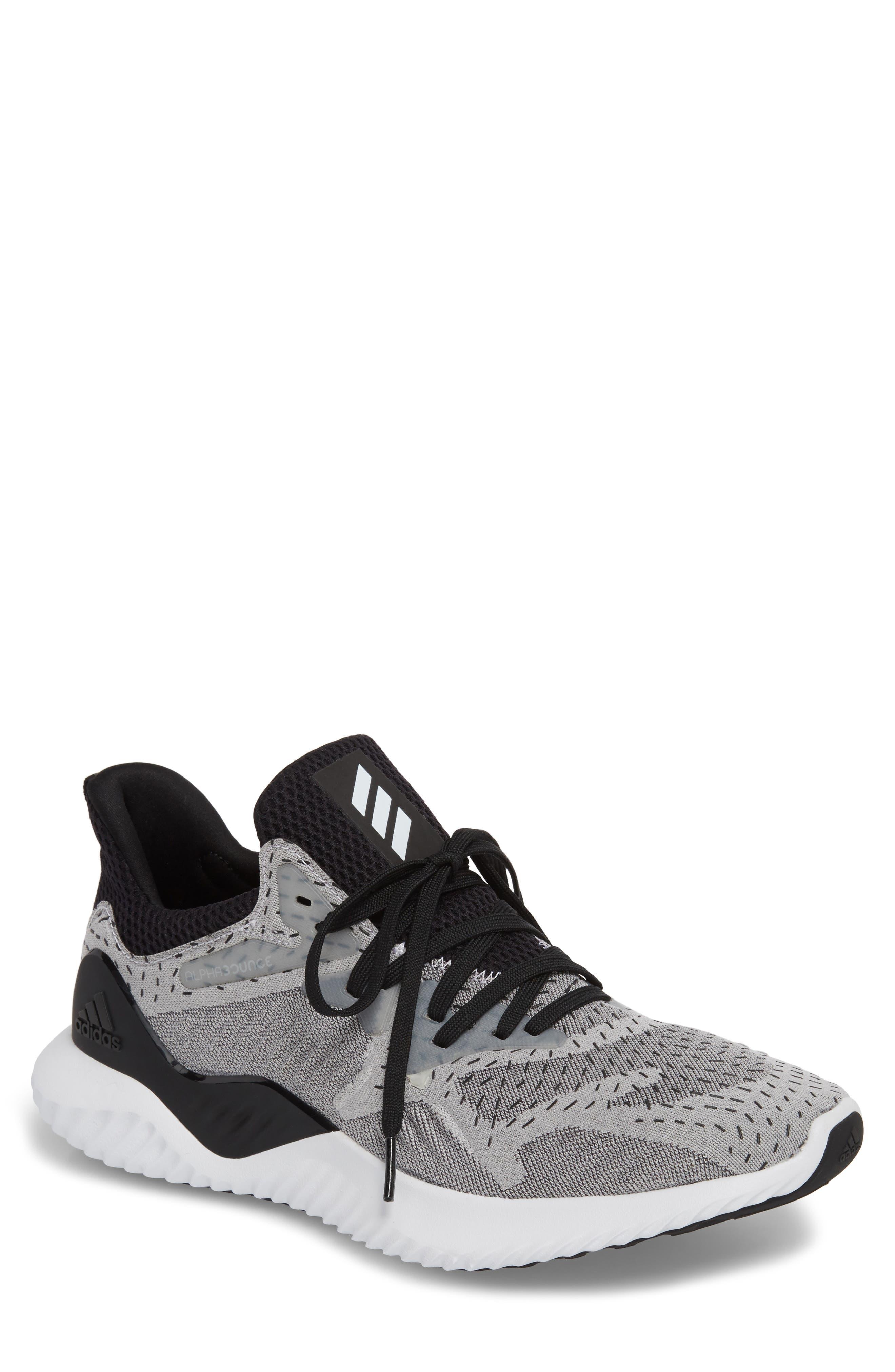AlphaBounce Beyond Knit Running Shoe,                             Main thumbnail 1, color,                             White/ Core Black